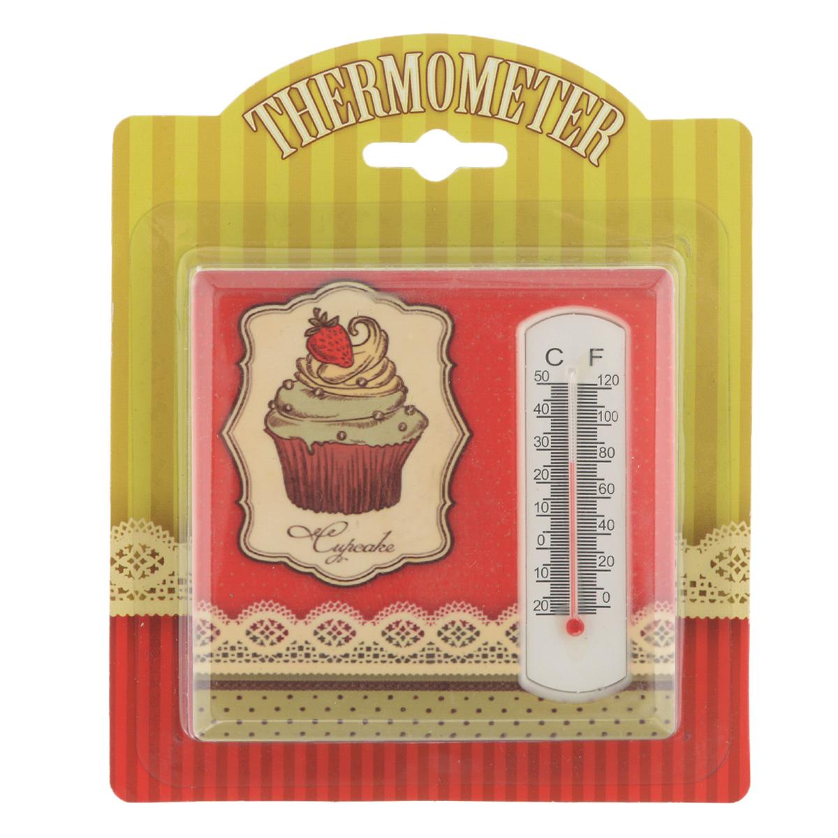 Термометр декоративный Феникс-презент, комнатный. 3304133041Комнатный термометр Феникс-презент, изготовленный из керамики и стекла, декорирован изображением пирожного. Термометр имеет шкалу измерения температуры по Цельсию (-20°С - +50°С) и по Фаренгейту (0°F - +120°F). Благодаря такому термометру вы всегда будете точно знать, насколько тепло в помещении. Оригинальный дизайн не оставит равнодушным никого. Термометр удачно впишется в обстановку жилого помещения, гаража или беседки. Кроме того, это актуальный подарок для человека с хорошим вкусом. Высота градусника: 5,5 см.