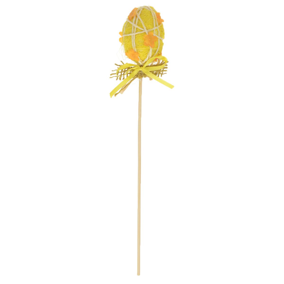 Декоративное украшение на ножке Home Queen Яйцо красивое, цвет: желтый, высота 20 см60742_2Декоративное украшение Home Queen Яйцо красивое выполнено из пенопласта в виде пасхального яйца на деревянной ножке, декорированного рельефными цветами. Изделие украшено лентой. Такое украшение прекрасно дополнит подарок для друзей или близких на Пасху. Высота: 20 см. Размер яйца: 5,5 см х 4,5 см.