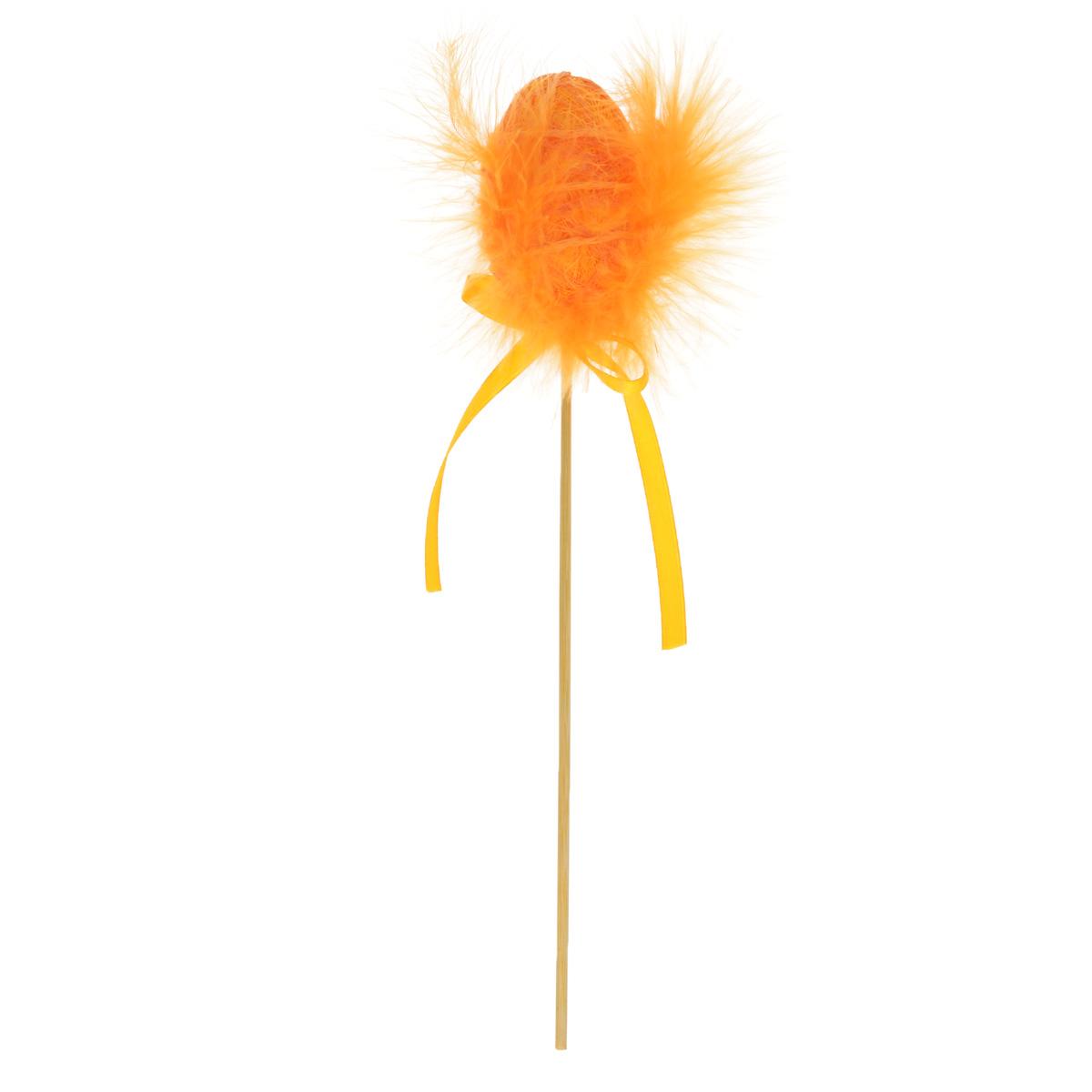 Декоративное пасхальное украшение на ножке Home Queen Яйцо с пухом. Разноцвет, цвет: оранжевый, высота 25 см64387_2Декоративное украшение Home Queen Яйцо с пухом. Разноцвет выполнено из полиэстера в виде пасхального яйца на деревянной ножке, декорированного перьями. Изделие украшено текстильной лентой. Такое украшение прекрасно дополнит подарок для друзей или близких на Пасху. Высота: 25 см. Размер яйца: 6 см х 4,5 см.