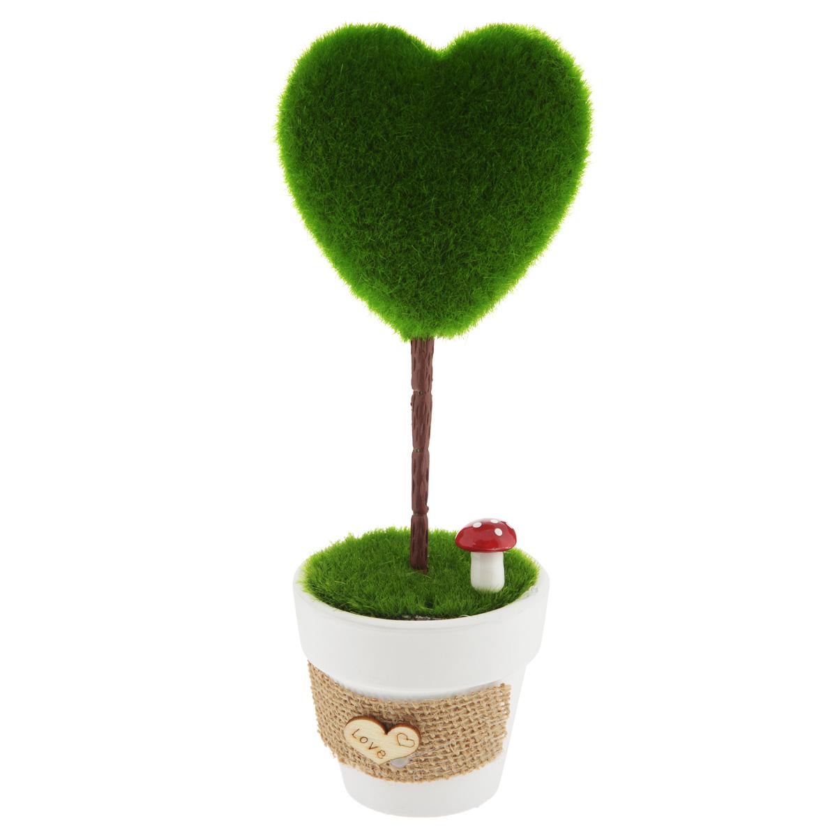 Декоративное украшение Феникс-презент Сердце, высота 21 см37557Декоративное украшение Феникс-презент Сердце, изготовленное из ПВХ и пенопласта дополнит интерьер любого помещения, а также может стать оригинальным подарком для ваших друзей и близких. Композиция выполнена в виде деревца с кроной в форме сердца. Деревце располагается в небольшом горшочке. Оформление помещения декоративным деревом создаст праздничную, по-настоящему радостную и теплую атмосферу в доме. Размер кроны дерева: 8 см х 8 см х 4 см.