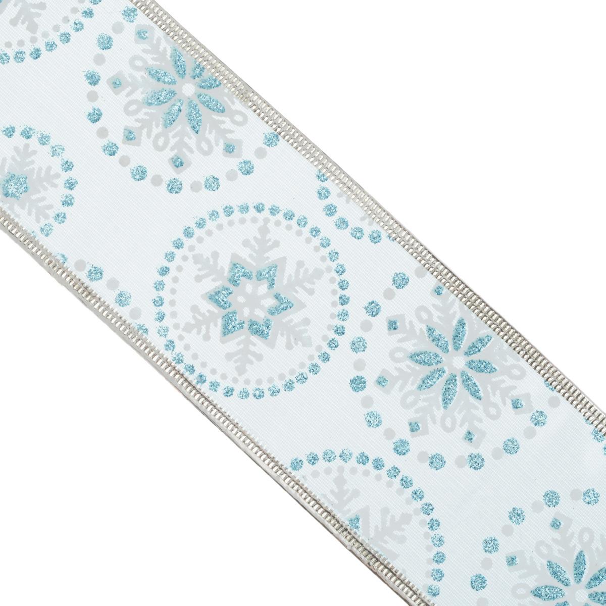 Декоративная лента Феникс-презент, цвет: голубой, 2,7 м. 3540835408Декоративная лента Феникс-презент выполнена из полиэстера и декорирована снежинками и блестками. В края ленты вставлена проволока, благодаря чему ее легко фиксировать. Лента предназначена для оформления подарочных коробок, пакетов. Кроме того, декоративная лента с успехом применяется для художественного оформления витрин, праздничного оформления помещений, изготовления искусственных цветов. Декоративная лента украсит интерьер вашего дома к любым праздникам. Ширина ленты: 6,3 см.