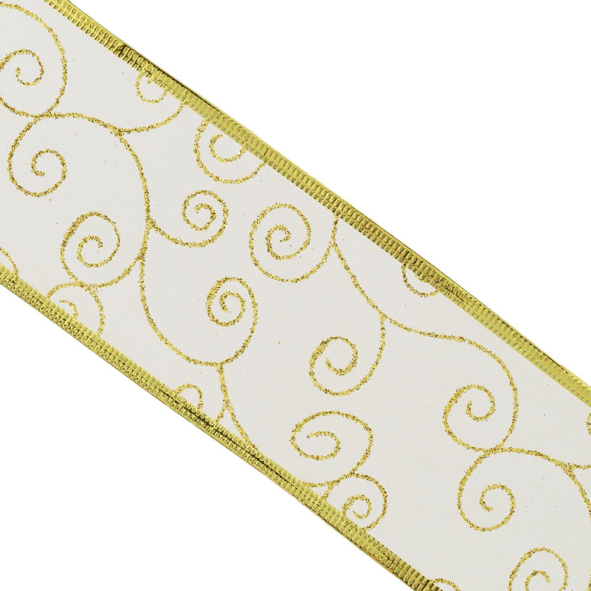 Декоративная лента Феникс-презент, цвет: золотистый, 2,7 м. 3540135401Декоративная лента Феникс-презент выполнена из полиэстера и декорирована оригинальным узором и блестками. В края ленты вставлена проволока, благодаря чему ее легко фиксировать. Лента предназначена для оформления подарочных коробок, пакетов. Кроме того, декоративная лента с успехом применяется для художественного оформления витрин, праздничного оформления помещений, изготовления искусственных цветов. Декоративная лента украсит интерьер вашего дома к любым праздникам. Ширина ленты: 6,3 см.