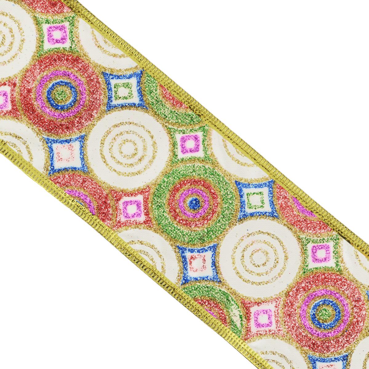 Декоративная лента Феникс-презент, 2,7 м. 3540935409Декоративная лента Феникс-презент выполнена из полиэстера и декорирована геометрическими узорами и блестками. В края ленты вставлена проволока, благодаря чему ее легко фиксировать. Лента предназначена для оформления подарочных коробок, пакетов. Кроме того, декоративная лента с успехом применяется для художественного оформления витрин, праздничного оформления помещений, изготовления искусственных цветов. Декоративная лента украсит интерьер вашего дома к любым праздникам. Ширина ленты: 6,3 см.
