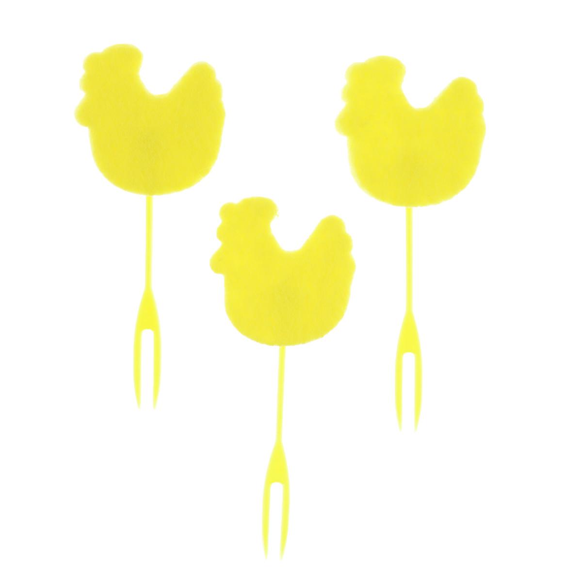 Набор декоративных вилочек Home Queen Курочка для украшения кулича, цвет: желтый, длина 10 см, 3 шт60721_5Набор Home Queen Курочка, изготовленный из пластика и фетра, состоит из трех декоративных вилочек, предназначенных для украшения пасхального кулича. Изделия декорированы фигурками курочек. Такой набор прекрасно дополнит оформление праздничного стола на Пасху. Размер фигурки: 4 см х 4 см.