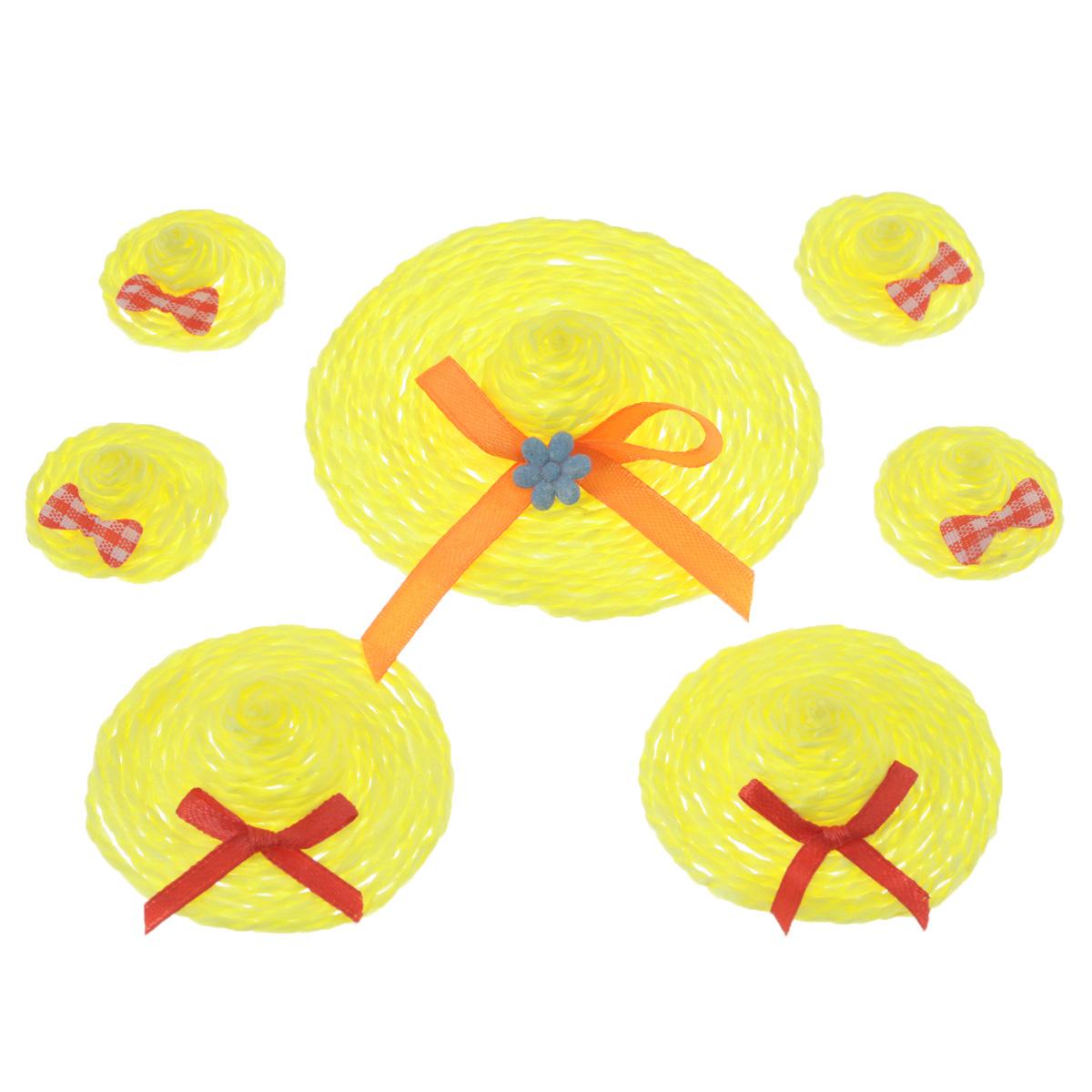 Набор декоративных украшений Home Queen Шляпки, на клейкой основе, цвет: желтый, 7 шт66856_1Набор Home Queen Шляпки состоит из 7 декоративных элементов и предназначен для украшения яиц, посуды, стекла, керамики, металла, цветочных горшков, ваз и других предметов интерьера. Украшения изготовлены из полиэстера и бумаги в виде шляпок разного размера и фиксируются при помощи специальной клейкой основы. Такой набор украшений создаст атмосферу праздника в вашем доме. Размер большой фигурки: 7 см х 7 см х 2 см. Размер средней фигурки: 4,5 см х 4,5 см х 1,7 см. Размер маленькой фигурки: 2,5 см х 2,5 см х 1,5 см.