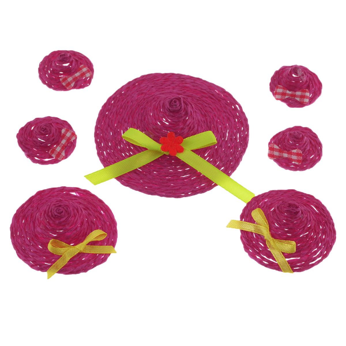 Набор декоративных украшений Home Queen Шляпки, на клейкой основе, цвет: фуксия, 7 шт66856_2Набор Home Queen Шляпки состоит из 7 декоративных элементов и предназначен для украшения яиц, посуды, стекла, керамики, металла, цветочных горшков, ваз и других предметов интерьера. Украшения изготовлены из полиэстера и бумаги в виде шляпок разного размера и фиксируются при помощи специальной клейкой основы. Такой набор украшений создаст атмосферу праздника в вашем доме. Размер большой фигурки: 7 см х 7 см х 2 см. Размер средней фигурки: 4,5 см х 4,5 см х 1,7 см. Размер маленькой фигурки: 2,5 см х 2,5 см х 1,5 см.