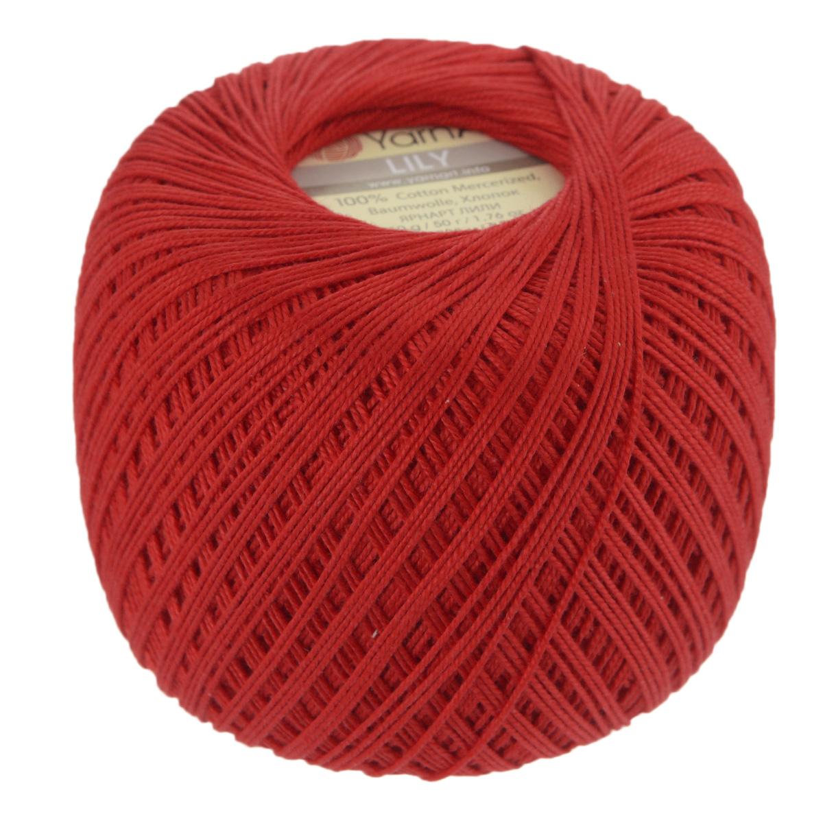 Пряжа для вязания YarnArt Lily, цвет: красный (0076), 225 м, 50 г, 8 шт372073_0076Пряжа YarnArt Lily - тонкая, гладкая и упругая пряжа из 100% мерсеризованного хлопка для вязания крючком и спицами. Нить хорошо скручена и не расслаивается. Это классическая пряжа, которая пользуется большой популярностью. Отлично подходит для вязания ажурных изделий. Замечательный вариант для вязания в технике ирландского кружева. Рекомендуется для вязания крючком 1,75-2 мм и на спицах 2,5 мм. Комплектация: 8 мотков. Толщина нити: 1 мм. Состав: 100% мерсеризованный хлопок.