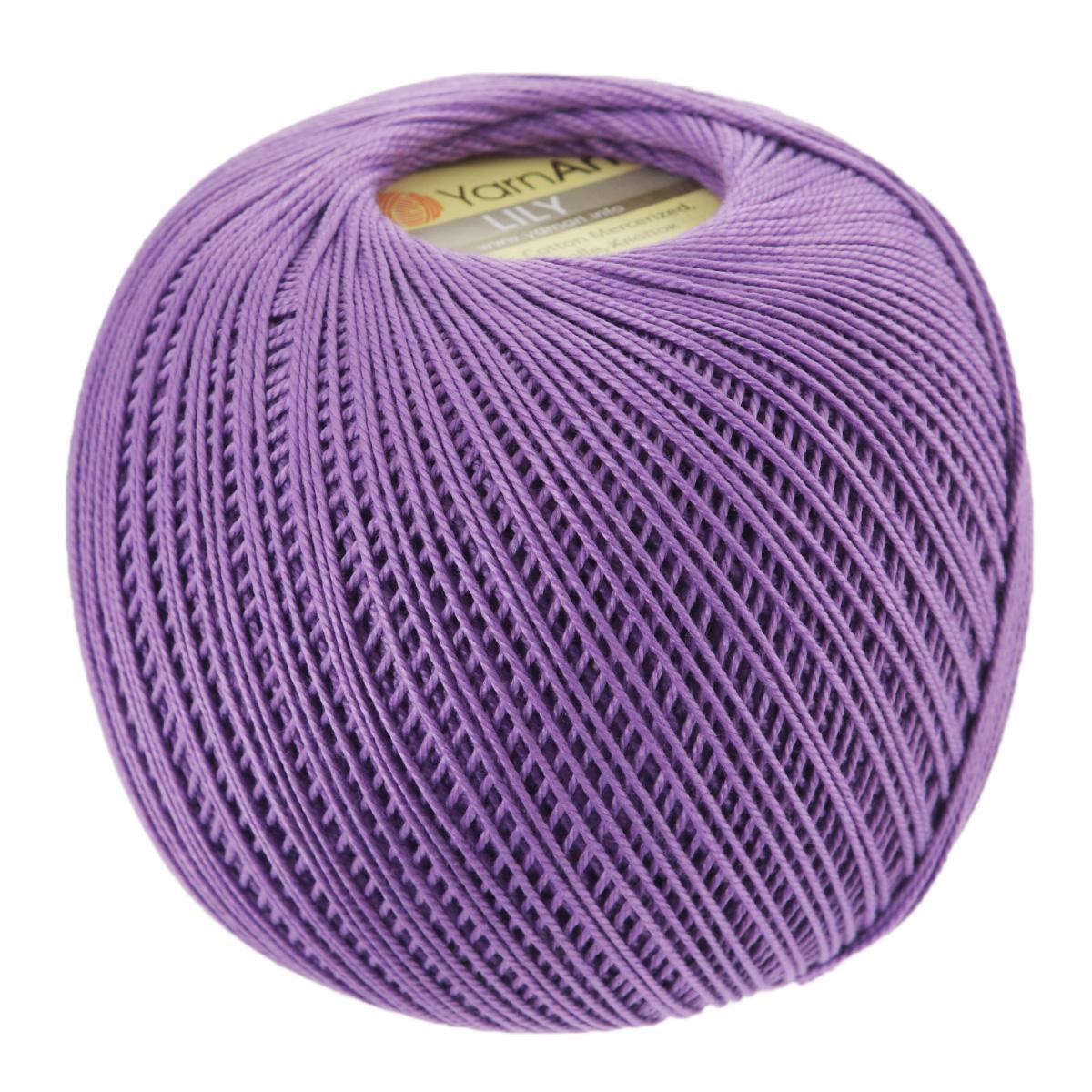Пряжа для вязания YarnArt Lily, цвет: сиреневый (6309), 225 м, 50 г, 8 шт372073_6309Пряжа YarnArt Lily - тонкая, гладкая и упругая пряжа из 100% мерсеризованного хлопка для вязания крючком и спицами. Нить хорошо скручена и не расслаивается. Это классическая пряжа, которая пользуется большой популярностью. Отлично подходит для вязания ажурных изделий. Замечательный вариант для вязания в технике ирландского кружева. Рекомендуется для вязания крючком 1,75-2 мм и на спицах 2,5 мм. Комплектация: 8 мотков. Толщина нити: 1 мм. Состав: 100% мерсеризованный хлопок.