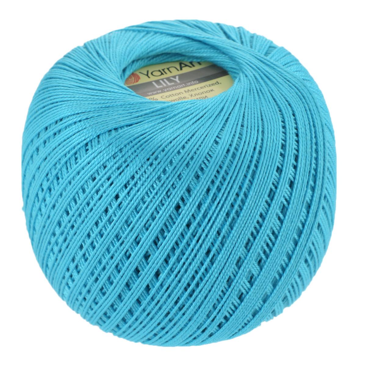 Пряжа для вязания YarnArt Lily, цвет: бирюзовый (0008), 225 м, 50 г, 8 шт372073_0008Пряжа YarnArt Lily - тонкая, гладкая и упругая пряжа из 100% мерсеризованного хлопка для вязания крючком и спицами. Нить хорошо скручена и не расслаивается. Это классическая пряжа, которая пользуется большой популярностью. Отлично подходит для вязания ажурных изделий. Замечательный вариант для вязания в технике ирландского кружева. Рекомендуется для вязания крючком 1,75-2 мм и на спицах 2,5 мм. Комплектация: 8 мотков. Толщина нити: 1 мм. Состав: 100% мерсеризованный хлопок.