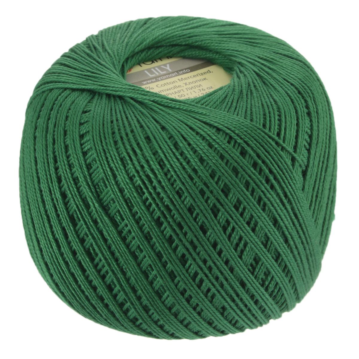 Пряжа для вязания YarnArt Lily, цвет: зеленый (5542), 225 м, 50 г, 8 шт372073_5542Пряжа YarnArt Lily - тонкая, гладкая и упругая пряжа из 100% мерсеризованного хлопка для вязания крючком и спицами. Нить хорошо скручена и не расслаивается. Это классическая пряжа, которая пользуется большой популярностью. Отлично подходит для вязания ажурных изделий. Замечательный вариант для вязания в технике ирландского кружева. Рекомендуется для вязания крючком 1,75-2 мм и на спицах 2,5 мм. Комплектация: 8 мотков. Толщина нити: 1 мм. Состав: 100% мерсеризованный хлопок.
