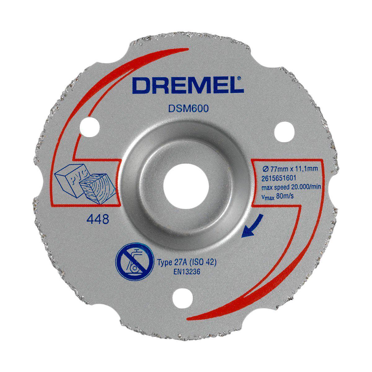 Диск для резки дерева Dremel DSM600 для пилы Dremel DSM202615S600JADremel DSM600 — это многофункциональный твердосплавный отрезной круг для резки заподлицо. Применяется совместно с компактной пилой DSM20. Этот изогнутый абразивный отрезной круг служит для выполнения резки (прямых пропилов, врезного пиления и резки заподлицо) в древесине и других мягких материалах. Диаметр: 20 мм.