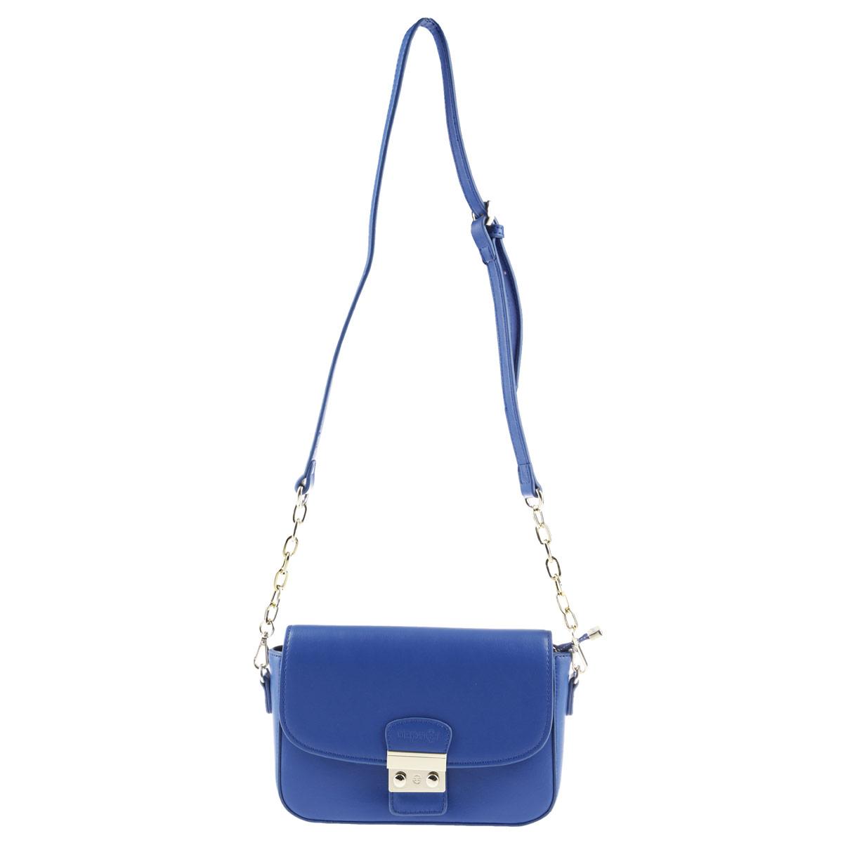 Сумка женская Dispacci, цвет: синий. dmk6468dmk6468Компактная сумка Dispacci из экокожи займет достойное место в вашей коллекции аксессуаров. Модель закрывается на застежку-молнию и дополнительно клапаном на оригинальный замочек. Внутри - одно отделение, не большой плоский карман на застежке-молнии, два накладных кармашка для телефона и мелочей. Лицевая сторона дополнена втачным кармашком на застежке-молнии. Регулирующийся плечевой ремень оформлен по краям вставками в виде цепочки. Изделие упаковано в фирменный чехол. Постоянно нарастающий темп жизни диктует дамам свои правила. Современная женщина обязана быть стильной, мобильной, всё везде успевать, но в то же время умудряться оставаться красивой, ухоженной и элегантной. Минимум вещей, максимум идей! И для этого минимального количества самых необходимых вещей, девушки все чаще и чаще отдают предпочтение маленьким компактным сумочкам от бренда Dispacci!