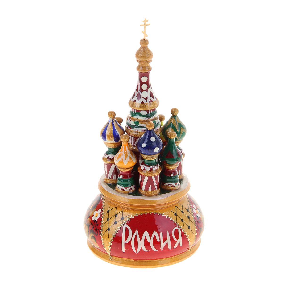 Фигурка декоративная Sima-land Храм, музыкальная, высота 19 см. 10799311079931Декоративная фигурка Sima-land Храм, выполненная из дерева в виде храма, покрыта лаком и оформлена красочными рисунками. Основание фигурки имеет ключ, предназначенный для завода музыкального механизма. Поверните основание фигурки, и она начнет медленно вращаться, и заиграет приятная мелодия. Декоративная музыкальна фигурка Sima-land Храм не оставит равнодушным ни одного любителя изысканных вещей и станет прекрасным подарком. Размер фигурки: 9,5 см х 9,5 см х 19 см.