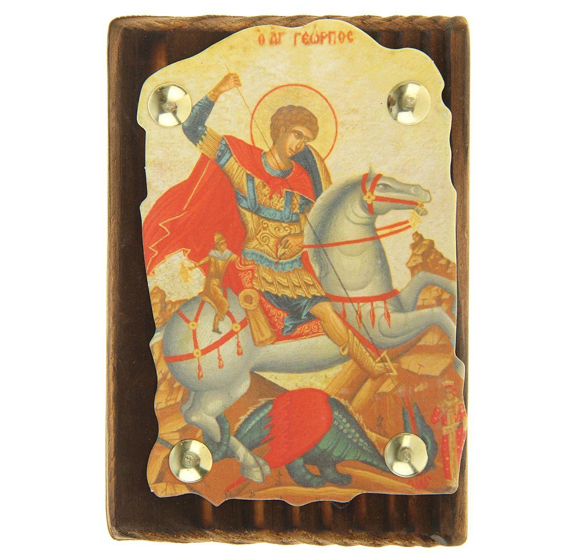 Икона Георгий Победоносец, 7,5 см х 11 см137009Икона Георгий Победоносец выполнена из картона, с нанесенным изображением, который крепиться на деревянную дощечку, обработанную огнем. На обратной стороне имеется отверстие, благодаря которому икону удобно вешать на стену. Изображенный образ полностью соответствует канонам Русской Православной Церкви. Такая икона будет прекрасным подарком с духовной составляющей.