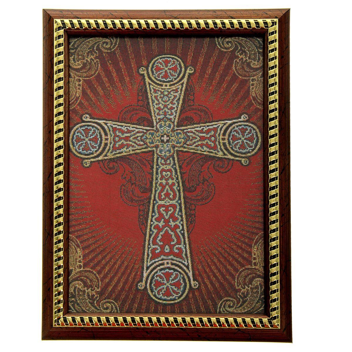Икона в рамке Корсунский крест, 21 см х 27,5 см188552Икона Корсунский крест представляет собой святое изображение, вытканное на ткани и вставленное в деревянную рамку со стеклом. На обратной стороне иконы есть подставка, поэтому удобно располагать такую икону на столе. Икона полностью соответствует канонам Русской Православной Церкви. Икона выглядит по-настоящему богатой. Такая икона будет прекрасным подарком с духовной составляющей.