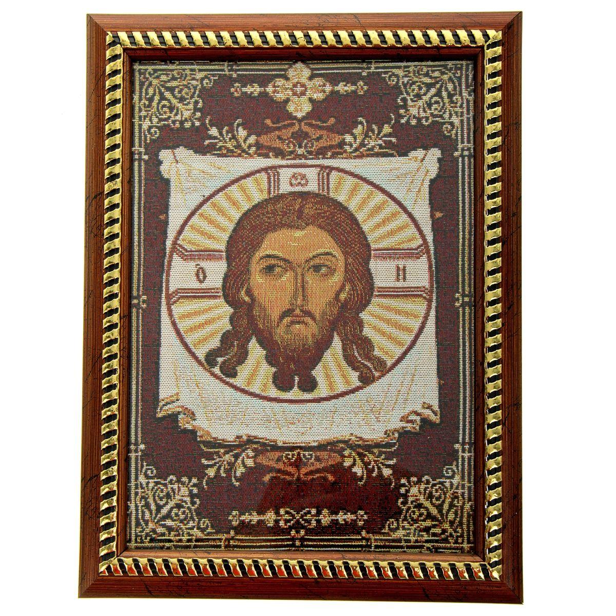 Икона в рамке Спас Нерукотворный, 21 х 27,5 см188553Икона Спас Нерукотворный представляет собой святое изображение, вытканное на ткани и вставленное в деревянную рамку со стеклом. На обратной стороне иконы есть подставка, поэтому удобно располагать такую икону на столе. Икона полностью соответствует канонам Русской Православной Церкви. Икона выглядит по-настоящему богатой. Такая икона будет прекрасным подарком с духовной составляющей.
