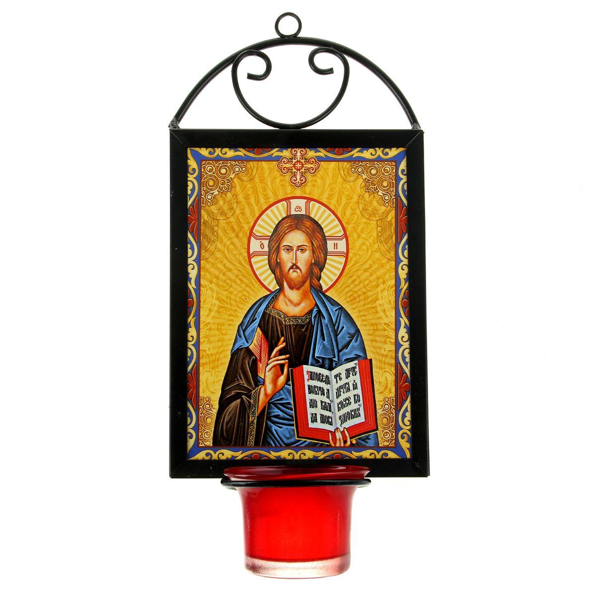 Икона Господь Вседержитель, с лампадой, 12 х 22 см190257Икона Господь Вседержитель выполнена из керамики в металлической рамке. Внизу рамки имеется отверстие для лампады, входящей в комплект. Изделие имеет петельку, благодаря которой икону удобно вешать на стену. Изображенный образ полностью соответствует канонам Русской Православной Церкви. Такая икона будет прекрасным подарком с духовной составляющей.