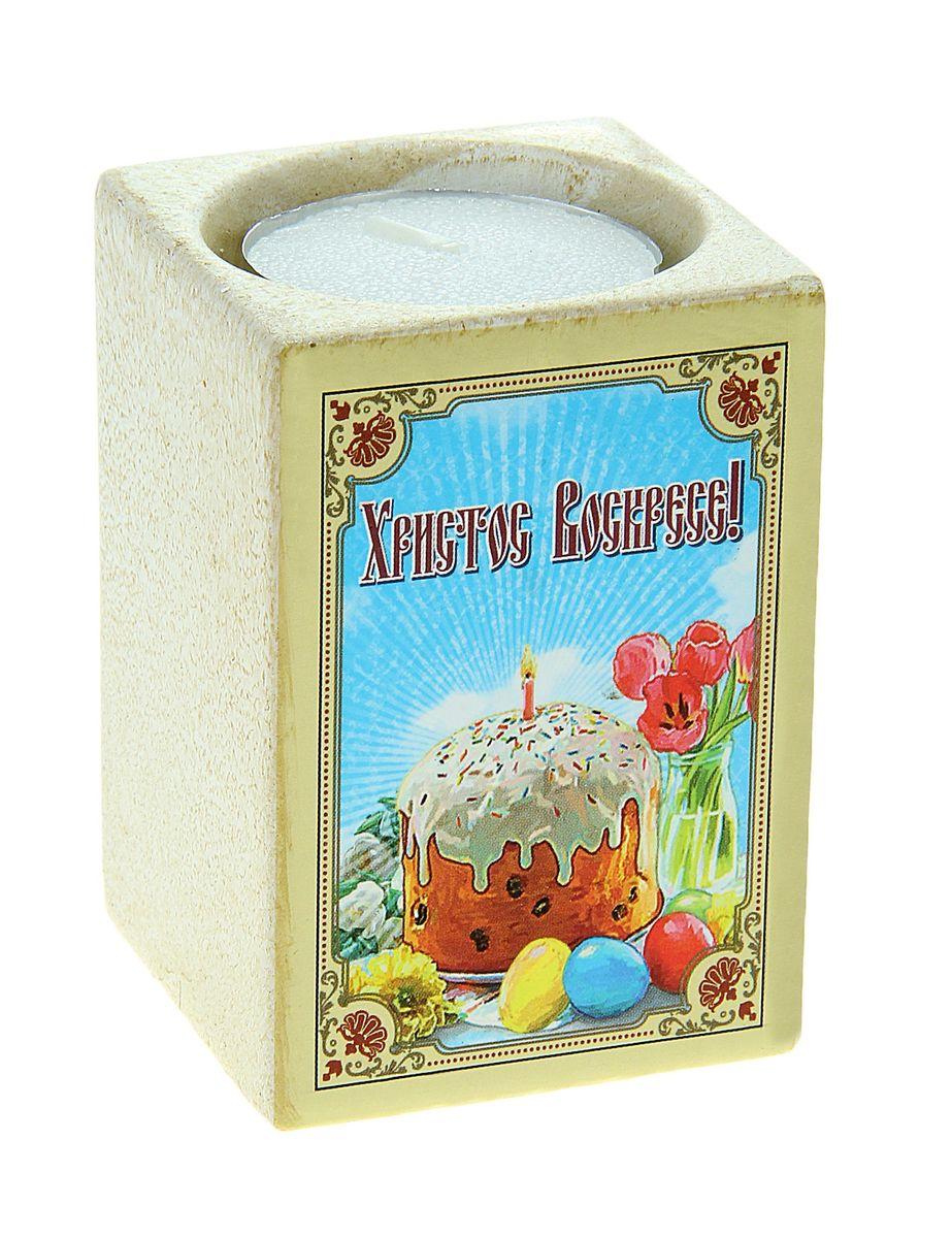Подсвечник пасхальный Sima-land Кулич, со свечой, высота 7,5 см777904Подсвечник Sima-land Кулич изготовлен из качественной керамики, предназначен для свечи-таблетки. С одной стороны подсвечника изображен кулич с пасхальными яйцами, с другой стороны написаны пожелания. Зажгите свечку, поставьте ее в подсвечник и наслаждайтесь теплом, которое наполнит ваше сердце. В комплекте свеча. Такой подсвечник привнесет в ваш дом согласие и мир и будет прекрасным подарком, оберегающим близких вам людей. Размер подсвечника (ДхШхВ): 5 см х 5 см х 7,5 см. Диаметр отверстия для свечи: 4,5 см.