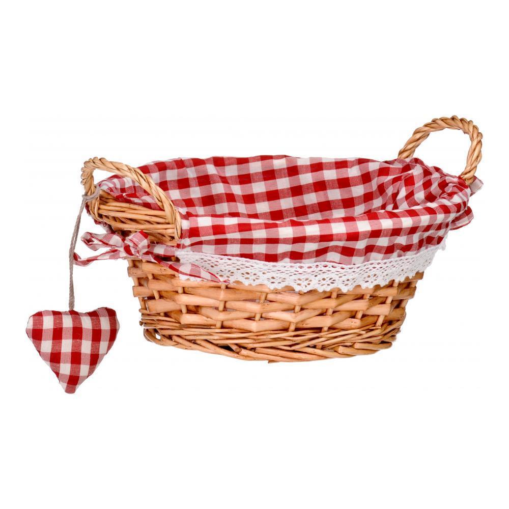 Корзинка для хлеба Premier, круглая, цвет: красный, 23 см х 23 см х 13 см1901052Круглая корзинка для хлеба Premier сплетена из лозы. На внутреннюю поверхность корзинки надет хлопковый чехол с рисунком в красную клетку, благодаря ему крошки не просыпаются на стол. Корзинка оснащена двумя удобными ручками и украшена текстильной подвеской в виде сердечка. В холодный зимний день приятная цветовая гамма корзинки в сочетании с оригинальным дизайном навевают воспоминания о лете, тем самым способствуя улучшению настроения и полноценному отдыху. Материал: лоза, хлопок. Размер корзинки (с учетом ручек) (ДхШхВ): 23 см х 23 см х 13 см. Размер корзинки (без учета ручек) (ДхШхВ): 23 см х 13 см х 10 см.