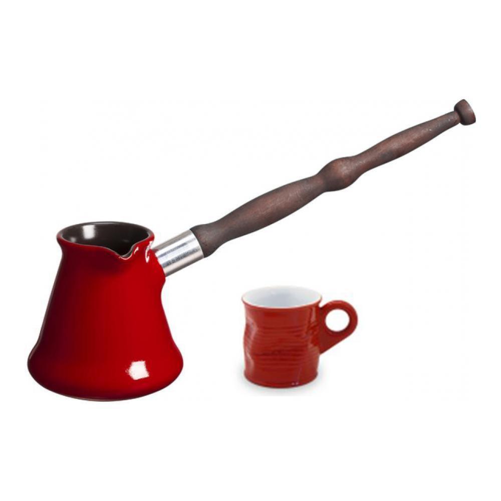 Набор для кофе Ceraflame, цвет: красный, 2 предметаJ72016Набор для кофе Ceraflame состоит из турки и чашки для кофе. Изделия выполнены из высококачественной жаропрочной керамики красного цвета. Турка и чашка покрыты уникальной гладкой эмалью, устойчивой к трещинам и царапинам. Непористая поверхность исключает образование бактерий, великолепно моется и будет оставаться новой и блестящей даже после использования абразивных губок и чистящих средств. Особенности керамики: - 100% устойчива к резким перепадам температур. Раскаленную посуду можно поставить на мраморную столешницу или любую другую холодную поверхность или окунуть в холодную воду. Посуда Ceraflame устойчива к термическому шоку. - Подходит для использования в микроволновой печи. Блюда, приготовленные в такой посуде, сохраняют свой аромат и полезные свойства. - Устойчива к царапинам. Керамика Ceraflame обжигается при температуре 1300°С, что делает эту посуду прочнее любой другой, а ее поверхность устойчивой к царапинам. -...