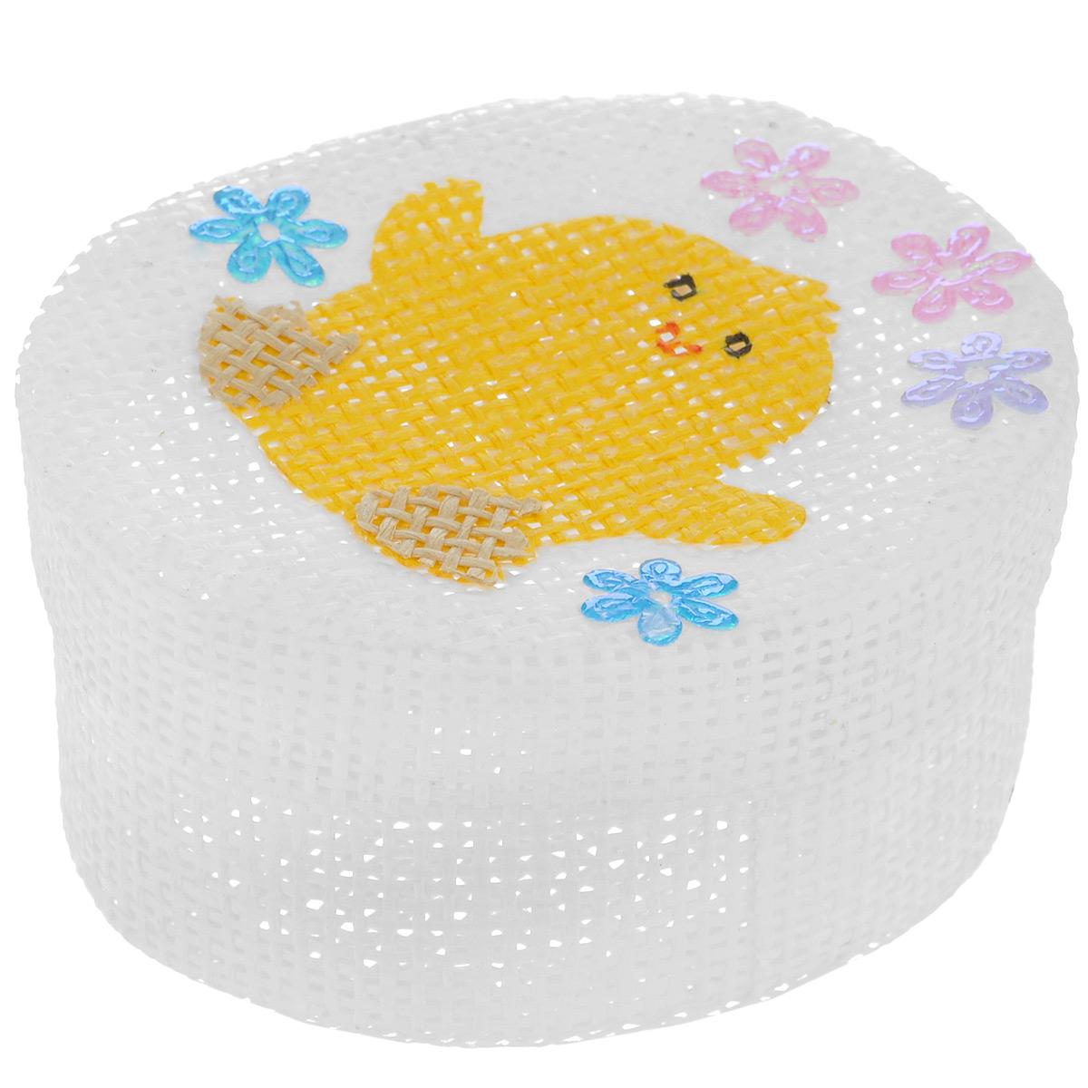 Шкатулка декоративная Home Queen Цыпленок, цвет: белый, 10,5 х 8 х 5 см66860_4Овальная шкатулка Home Queen Цыпленок изготовлена из бумаги. Крышка изделия украшена рельефным рисунком в виде цыпленка и декорирована стразами-цветами. Изящная шкатулка прекрасно подойдет для упаковки пасхального подарка для детей и взрослых, а также красиво украсит интерьер комнаты. Размер шкатулки: 10,5 см х 8 см х 5 см.
