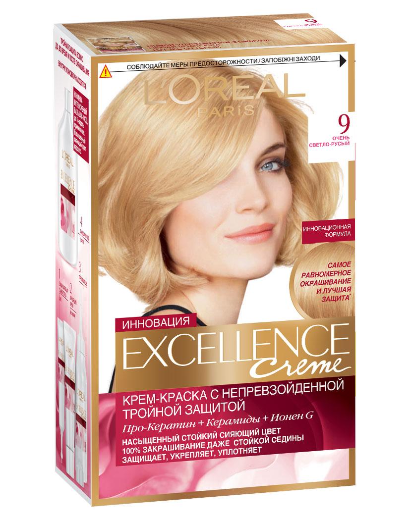 LOreal Paris Краска для волос Excellence, оттенок 9, Очень светло-русый, 270 млA0692928Крем-краска Excellence защищает волосы до, во время и после окрашивания. Активная формула с Про-Кератином, Керамидами и активным компонентом Ионен G обеспечивает стойкий равномерный цвет и 100% закрашивание седины. Защитная сыворотка лечит поврежденные участки волос. Густой красящий крем обволакивает каждый волос и насыщает его цветом. Бальзам-уход восстанавливает, укрепляет и уплотняет волосы. В состав упаковки входит: защищающая сыворотка (12 мл), флакон-аппликатор с проявителем (72 мл), тюбик с красящим кремом (48 мл), флакон с бальзамом-уходом (60 мл), аппликатор-расческа, инструкция, пара перчаток.
