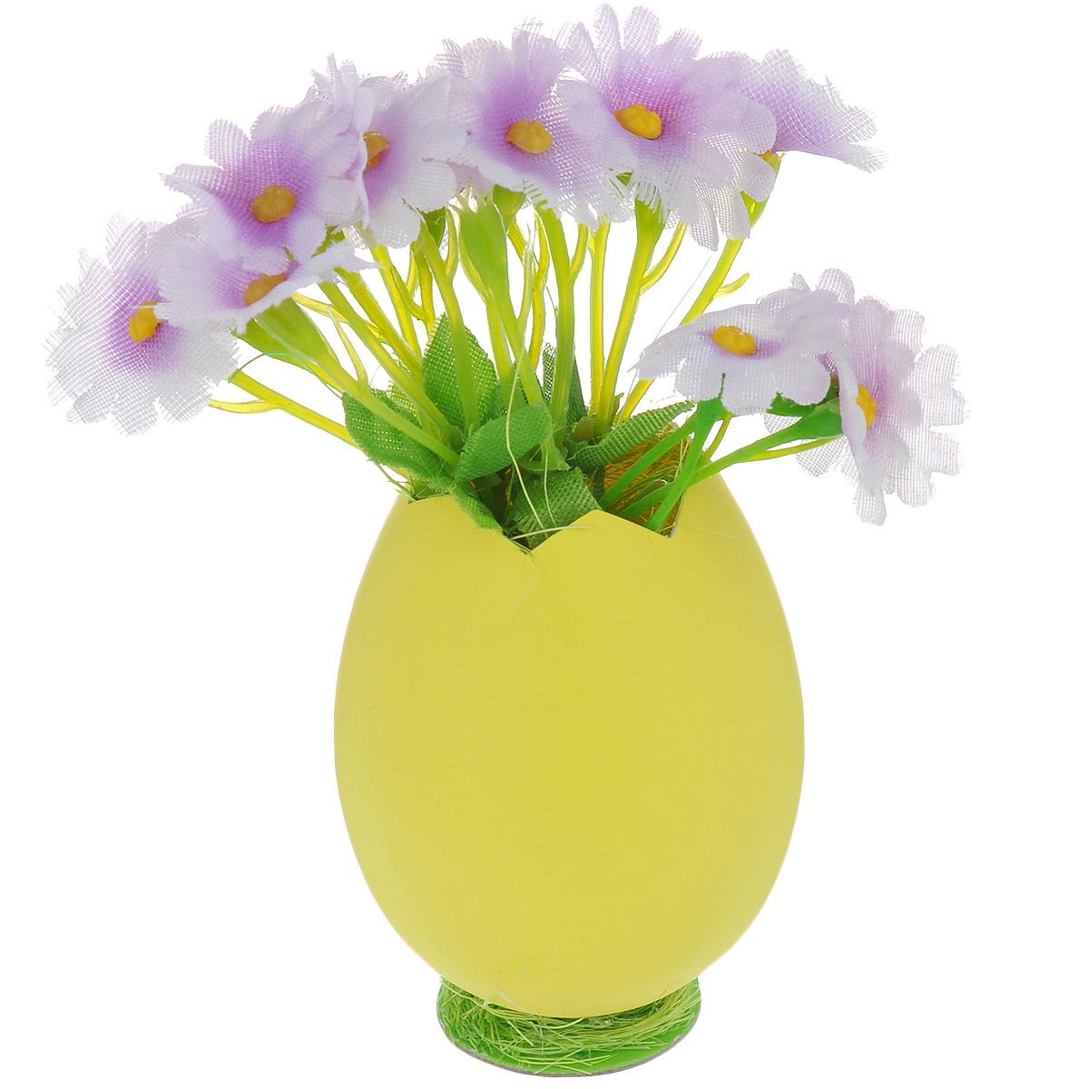 Декоративное украшение Home Queen Цветы в скорлупе, цвет: желтый, сиреневый, 5 х 11 см58246_5Декоративное украшение Home Queen Цветы в скорлупе выполнено из пластика и полиэстера в виде композиции из яичной скорлупы и цветов. Такое украшение прекрасно оформит интерьер дома или станет замечательным подарком для друзей и близких на Пасху. Размер: 5 см х 11 см х 5 см.
