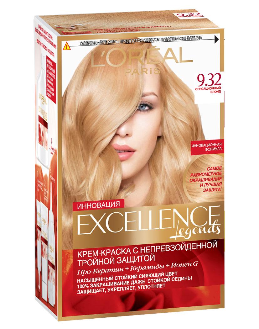 LOreal Paris Краска для волос Excellence, оттенок 9.32, Сенсационный блонд, 270 млA7809128