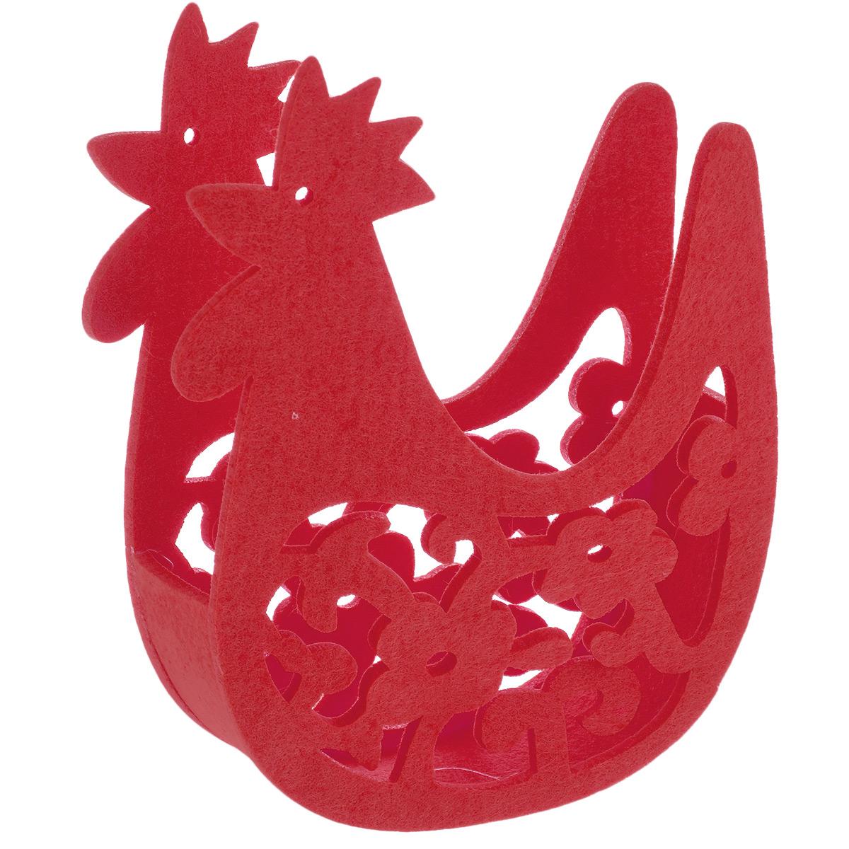 Корзинка Home Queen Курочка, цвет: красный, 18,5 х 6,5 х 25 см66835_2Корзинка Home Queen Курочка предназначена для украшения интерьера и сервировки стола. Изделие выполнено из фетра в виде курочки, по бокам оформлено перфорацией в виде красивых узоров. Такая оригинальная корзинка станет ярким украшением стола. Идеальный вариант для хранения пасхальных яиц или хлеба.