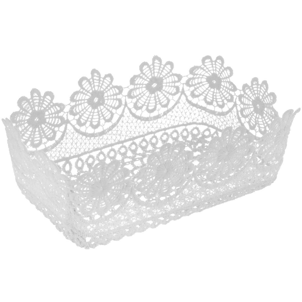 Корзинка Home Queen Ромашки, цвет: белый, 20,5 х 13 х 7,5 см64339_2Прямоугольная корзинка Home Queen Ромашки предназначена для украшения интерьера и сервировки стола. Изделие выполнено из полиэстера с красивым плетением в виде цветочных узоров, имеет жесткую форму. Такая оригинальная корзинка станет ярким украшением стола. Идеальный вариант для хранения пасхальных яиц, хлеба или конфет.