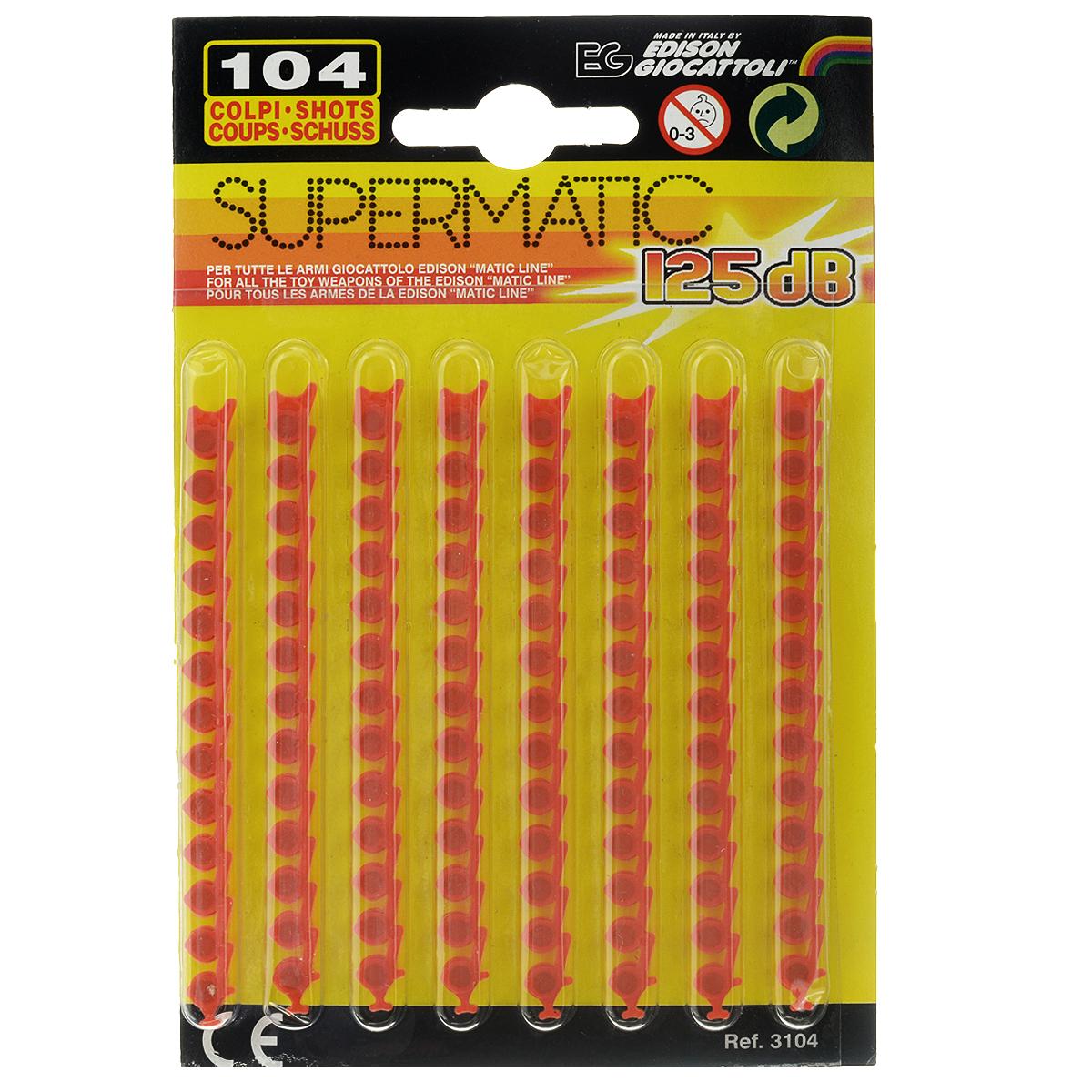 Пистоны Supermatic, 13-зарядные, 104 шт3104/4613-зарядные пистоны из набора Supermatic сделают выстрелы из игрушечного оружия более реалистичными. Пистоны приобретаются в качестве дополнения к моделям детского оружия с магазином емкостью 13 зарядов. В набор входят 8 лент по 13 пистонов в каждой. Edison Giocattoli - итальянский производитель игрушечного оружия для социально-ролевых игр, развивающих в детях чувство справедливости, мышление, логику и активность. Все игрушки этого бренда изготовлены из безопасных для здоровья детей материалов.