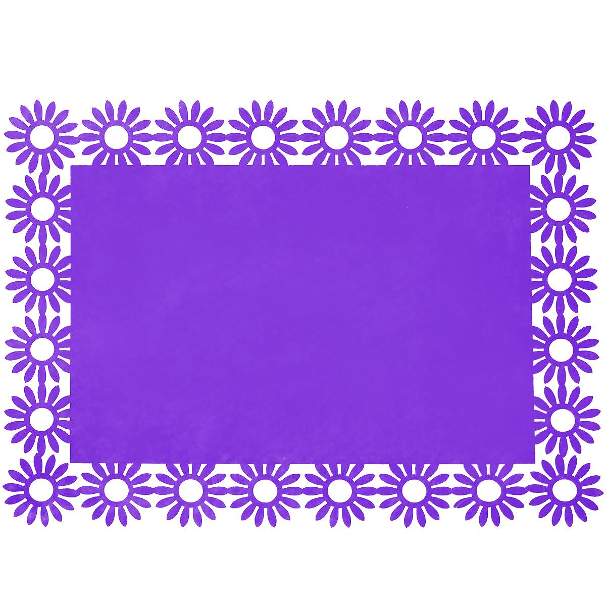 Салфетка Home Queen Веселый праздник, цвет: фиолетовый, 30 см х 40 см х 0,2 см66843_2Прямоугольная салфетка Home Queen Веселый праздник выполнена из фетра и имеет красивую перфорацию по краям. Вы можете использовать салфетку для декорирования стола, комода, журнального столика. В любом случае она добавит в ваш дом стиля, изысканности и неповторимости и убережет мебель от царапин и потертостей. Размер салфетки: 30 см х 40 см х 0,2 см.