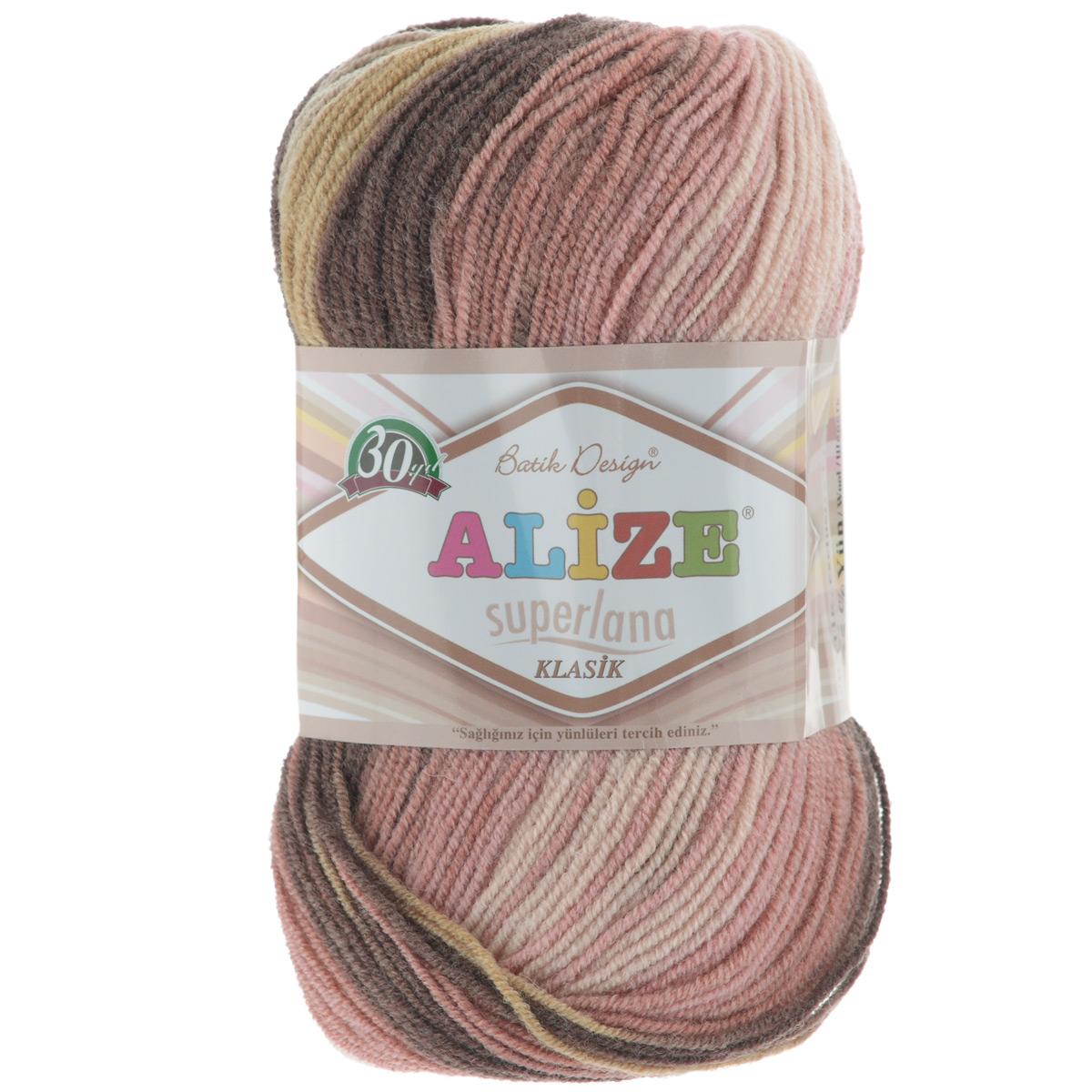 Пряжа для вязания Alize Superlana Klasik Pastel Batik, цвет: розовый, серый, коричневый (3611), 100 г, 280 м, 5 шт364120_3511Пряжа Alize Superlana Klasik Pastel Batik мягкая и приятная, средней толщины. Понравится мастерицам за необычную текстуру нити, напоминающую типом кручения тонкий шнурок, а владелицы готовых вещей оценят роскошную палитру нежнейших меланжевых переходов и изумительных оттенков пастельных тонов. Связать из такой нити можно легкую кофту, стильное платье, берет, и даже оригинальный топ. Рекомендуется для вязания крючком и на спицах 3-4 мм. Состав: 75% акрил, 25% шерсть.