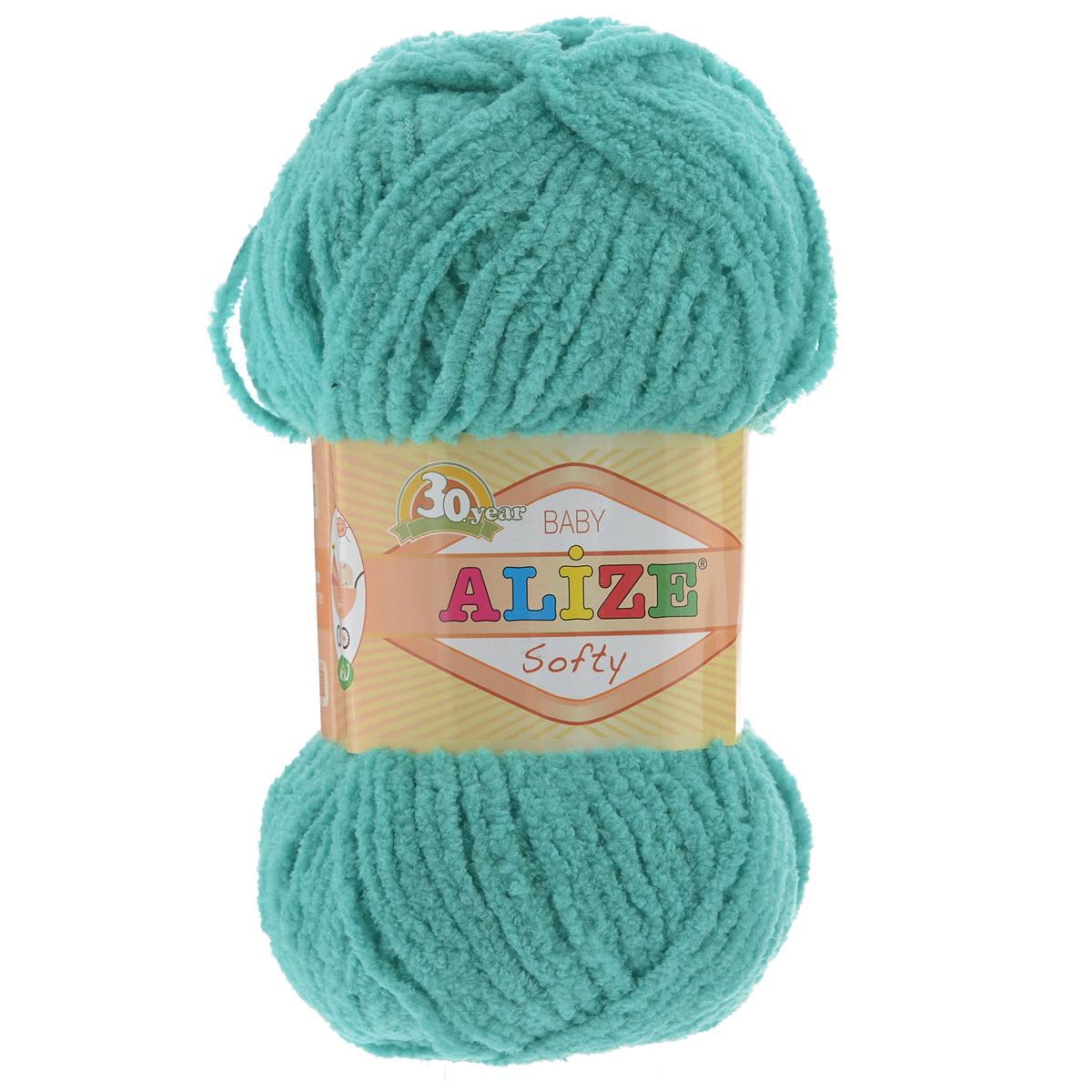 Пряжа для вязания Alize Softy, цвет: бирюзовый (490), 115 м, 50 г, 5 шт694530_490Пряжа для вязания Alize Softy изготовлена из микрополиэстера. Фантазийная плюшевая пряжа для ручного вязания прекрасно подойдет для детской одежды. Ниточка мягкая и приятная на ощупь. Подходит для вязания спицами и крючком. Рекомендованные спицы 3-5 мм и крючок для вязания 2-4 мм. Комплектация: 5 мотков.