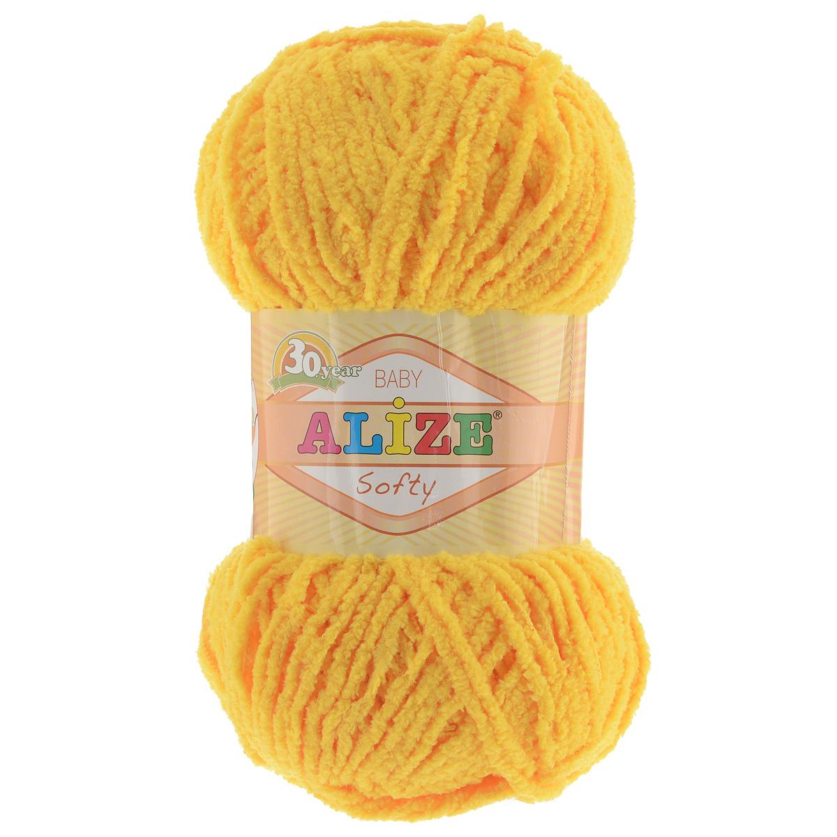 Пряжа для вязания Alize Softy, цвет: желтый (216), 115 м, 50 г, 5 шт694530_216Пряжа для вязания Alize Softy изготовлена из микрополиэстера. Фантазийная плюшевая пряжа для ручного вязания прекрасно подойдет для детской одежды. Ниточка мягкая и приятная на ощупь. Подходит для вязания спицами и крючком. Рекомендованные спицы 3-5 мм и крючок для вязания 2-4 мм. Комплектация: 5 мотков.
