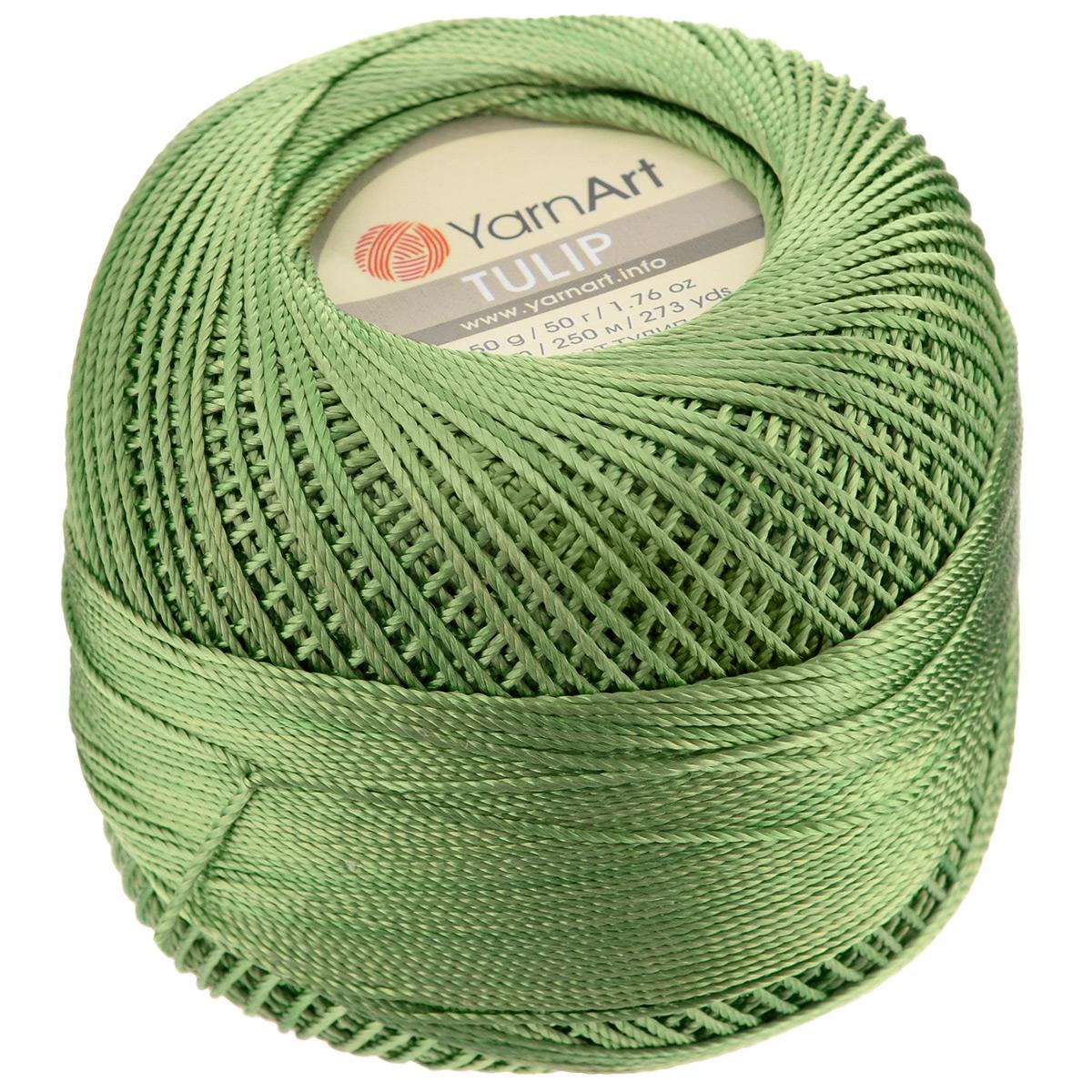 Пряжа для вязания YarnArt Tulip, цвет: болотный (423), 250 м, 50 г, 6 шт372017_423Пряжа для вязания YarnArt Tulip (Ирис) изготовлена из 100% микрофибры. Пряжа приятная на ощупь, легкая, тонкая и упругая. Хорошо смотрится практически в любых узорах, не косит, послушно ложится в узоры и спицами, и крючком. Ниточка блестящая и такими же блестящими получаются изделия из нее. Нить удобна и практична тем, что хорошо смотрится как в объемных рельефных узорах, так и в самой простой чулочной вязке. Пряжа Tulip - классический вариант демисезонной пряжи, идеальна для создания летней одежды, купальников, аксессуаров, бижутерии, салфеток, ирландского кружева, жгутов и т.д. Нежная текстура ниток подходит для создания одежды детям. Изделия получаются легкими, не деформируются и не вытягиваются ни при вязании, ни при последующей носке. Микрофибра гипоаллергенна, поэтому вязаные вещи подходят даже для чувствительной кожи. Богатая цветовая гамма однотонных и меланжевых расцветок порадует рукодельниц и удовлетворит даже самых взыскательных модниц. Нить очень...