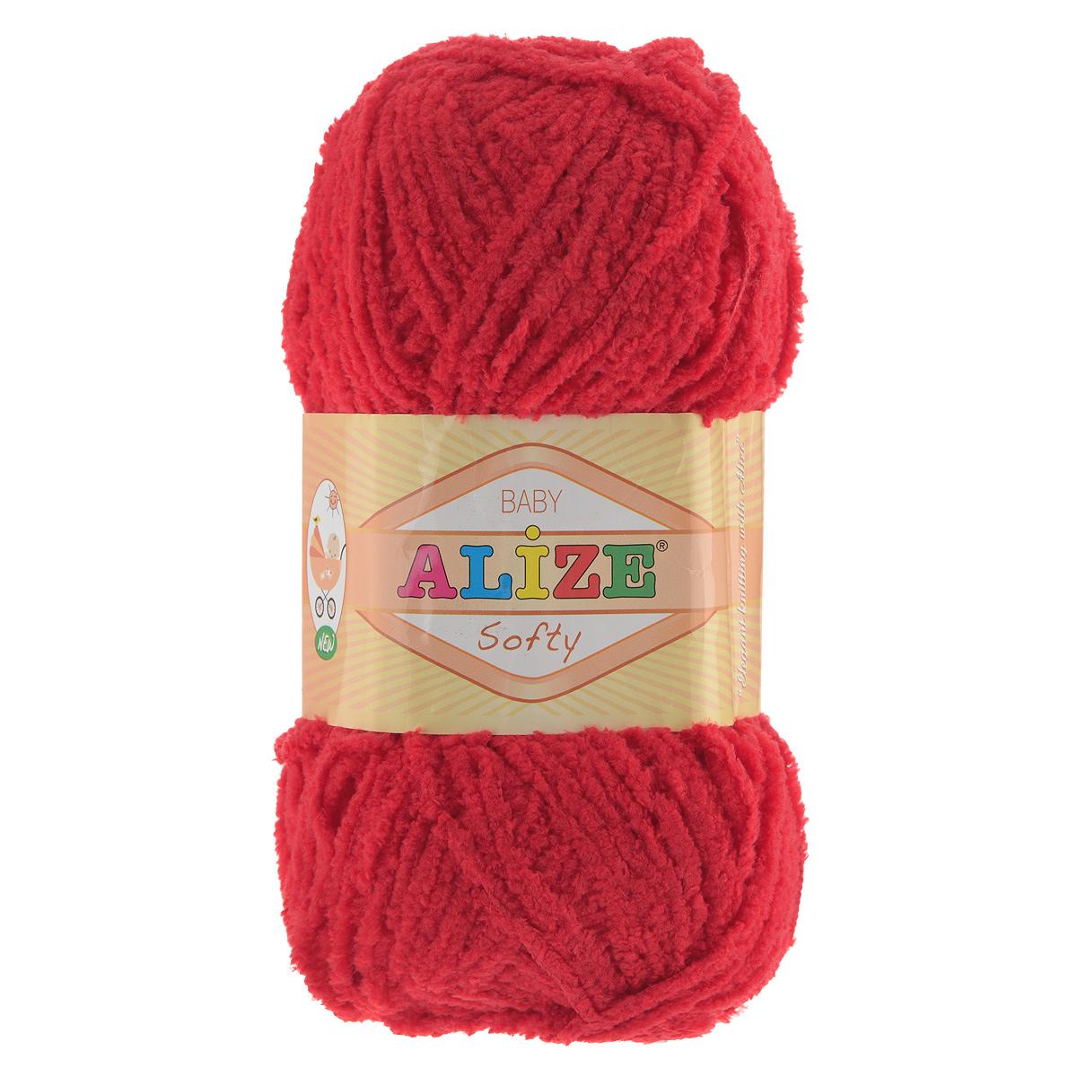 Пряжа для вязания Alize Softy, цвет: красный (56), 115 м, 50 г, 5 шт694530_56Пряжа для вязания Alize Softy изготовлена из микрополиэстера. Фантазийная плюшевая пряжа для ручного вязания прекрасно подойдет для детской одежды. Ниточка мягкая и приятная на ощупь. Подходит для вязания спицами и крючком. Рекомендованные спицы 3-5 мм и крючок для вязания 2-4 мм. Комплектация: 5 мотков.