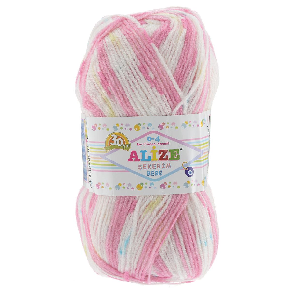 Пряжа для вязания Alize Sekerim Bebe, цвет: розовый, белый (102), 350 м, 100 г, 5 шт364082_102Пряжа для вязания Alize Sekerim Bebe изготовлена из акрила. Фантазийная пряжа для ручного вязания отлично подойдет для детских вещей. Ниточка мягкая и приятная на ощупь. Подходит для вязания спицами и крючком. Рекомендованные спицы 3-4 мм и крючок для вязания 2-4 мм. Состав: 100% акрил.