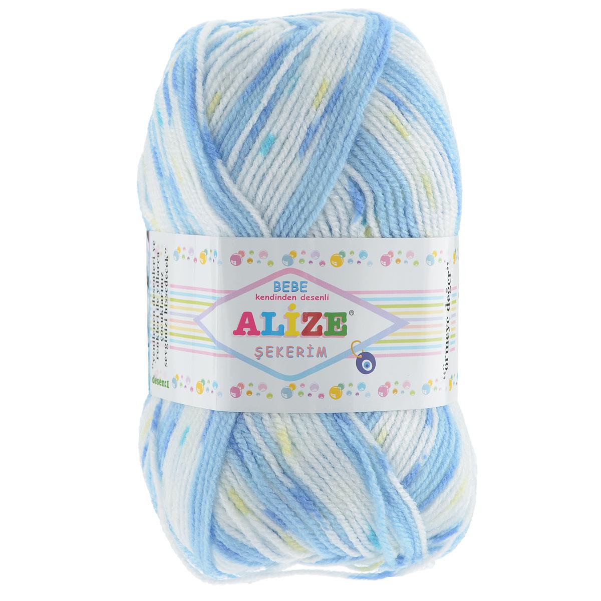 Пряжа для вязания Alize Sekerim Bebe, цвет: голубой, белый, синий (101), 320 м, 100 г, 5 шт364082_101Пряжа для вязания Alize Sekerim Bebe изготовлена из акрила. Фантазийная пряжа для ручного вязания отлично подойдет для детских вещей. Ниточка мягкая и приятная на ощупь. Подходит для вязания спицами и крючком. Рекомендованные спицы 3-4 мм и крючок для вязания 2-4 мм. Состав: 100% акрил.