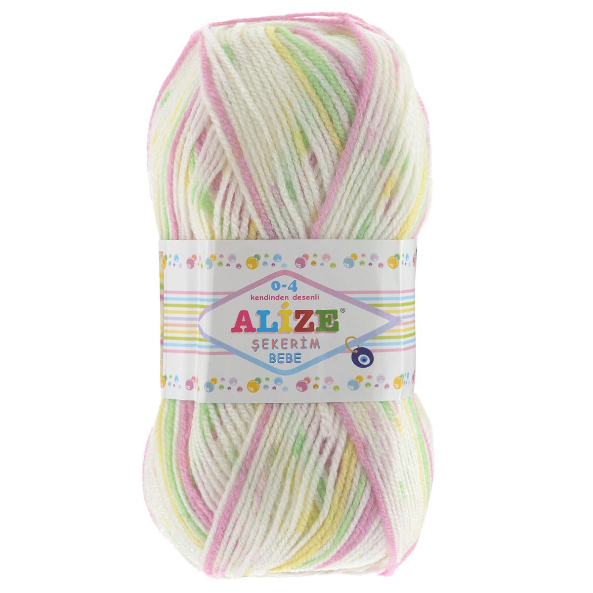 Пряжа для вязания Alize Sekerim Bebe, цвет: желтый, розовый, зеленый (504), 350 м, 100 г, 5 шт364082_504Пряжа для вязания Alize Sekerim Bebe изготовлена из акрила. Фантазийная пряжа для ручного вязания отлично подойдет для детских вещей. Ниточка мягкая и приятная на ощупь. Подходит для вязания спицами и крючком. Рекомендованные спицы 3-4 мм и крючок для вязания 2-4 мм. Состав: 100% акрил.