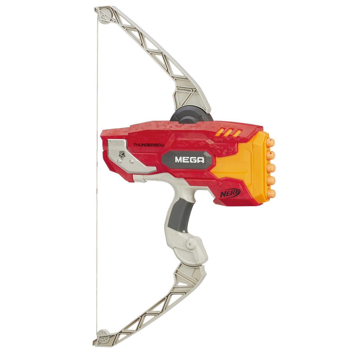 Nerf Лук Mega Thunderbow, со стреламиA8768EU4Мощный лук Nerf Mega Thunderbow позволит вашему ребенку почувствовать себя во всеоружии! Он выполнен из яркого прочного пластика и оснащен реалистичным механизмом стрельбы. Лук стреляет на расстояние свыше 24 метров. Гибкие плечи лука обеспечивают удобство и реалистичность стрельбы. Лук может выстреливать 5 стрелами подряд, без перезарядки. Комплект включает в себя 5 стрел, выполненных из гибкого вспененного полимера. Игра с таким луком поможет ребенку в развитии меткости, ловкости, координации движений и сноровки.