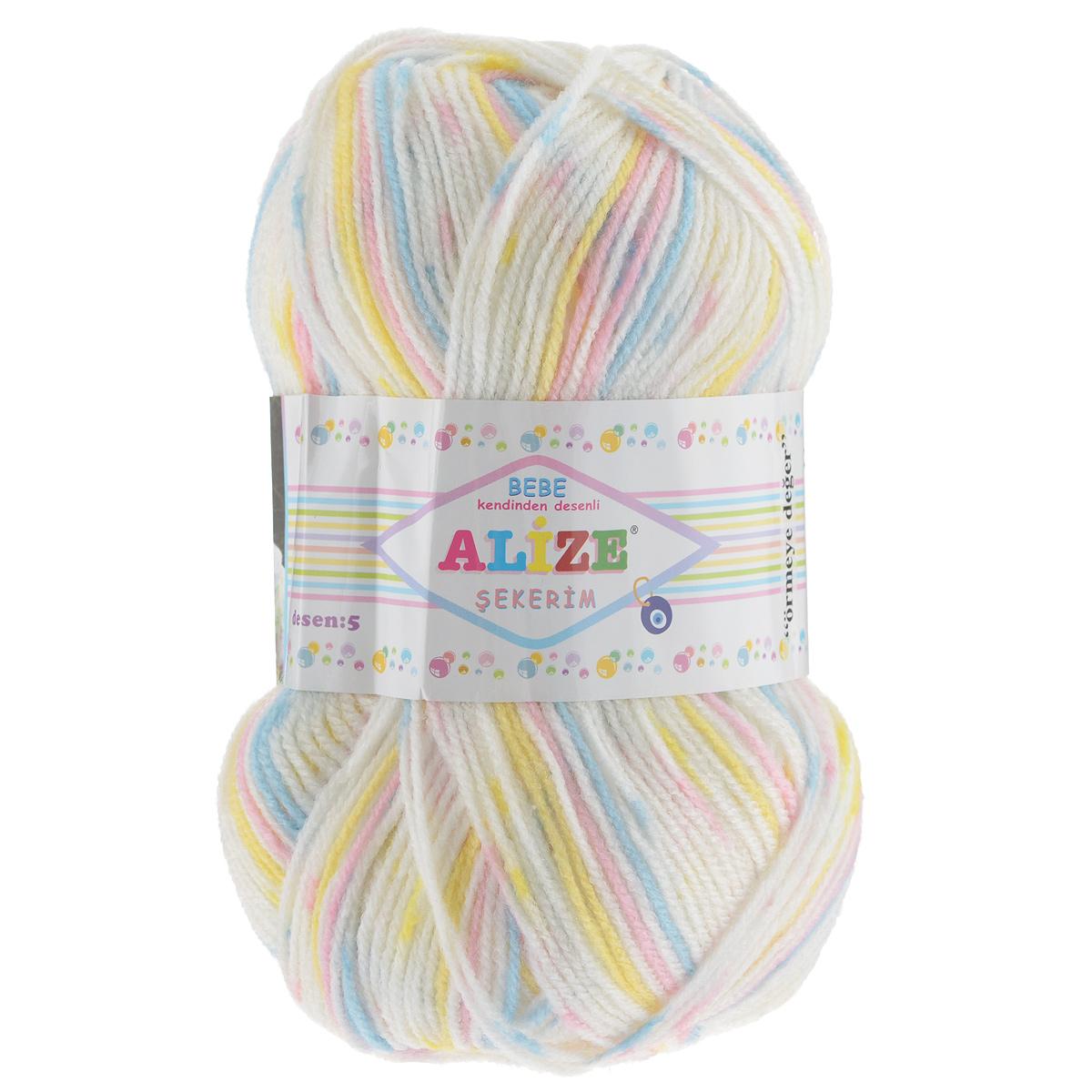 Пряжа для вязания Alize Sekerim Bebe, цвет: розовый, голубой, желтый (505), 350 м, 100 г, 5 шт364082_505Пряжа для вязания Alize Sekerim Bebe изготовлена из акрила. Фантазийная пряжа для ручного вязания отлично подойдет для детских вещей. Ниточка мягкая и приятная на ощупь. Подходит для вязания спицами и крючком. Рекомендованные спицы 3-4 мм и крючок для вязания 2-4 мм. Состав: 100% акрил.