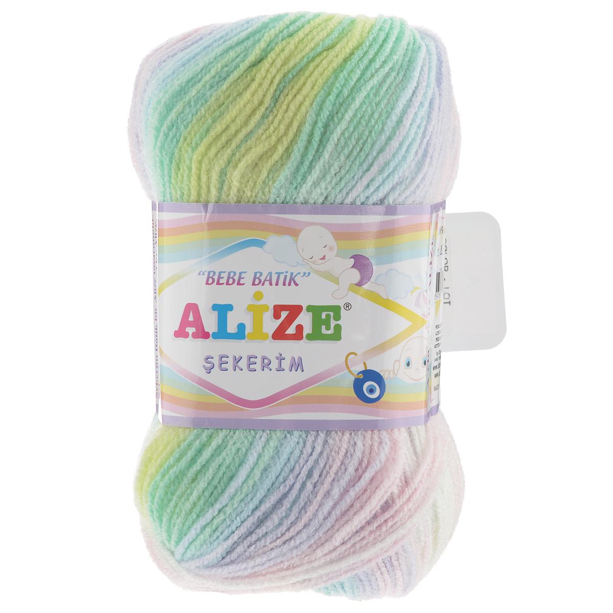 Пряжа для вязания Alize Sekerim Bebe Batik, цвет: желтый, зеленый, голубой (2132), 320 м, 100 г, 5 шт364106_2132Пряжа для вязания Alize Sekerim Bebe Batik изготовлена из акрила. Фантазийная пряжа для ручного вязания отлично подойдет для детских вещей. Ниточка мягкая и приятная на ощупь. Подходит для вязания спицами и крючком. Рекомендованные спицы 3-4 мм и крючок для вязания 2-4 мм. Состав: 100% акрил.