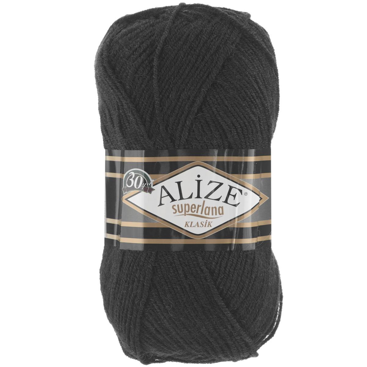 Пряжа для вязания Alize Superlana Klasik, цвет: черный (60), 280 м, 100 г, 5 шт692917_60Классическая пряжа Alize Superlana Klasik имеет среднюю толщину нити и состоит из 25% шерсти и 75% акрила. Подходит для создания вещей на осень. Пуловеры, платья, кардиганы, шапки и шарфы из этой пряжи отлично держат форму и прекрасно согреют вас в холодную погоду. Пряжа Alize Superlana Klasik - это универсальность: подойдет для мастериц различного уровня. Благодаря составу и скрутке петли отлично ложатся одна к другой, вязаное полотно получается ровное и однородное. Рассчитана на любой уровень мастерства, но особенно понравится начинающим мастерицам - благодаря толстой нити пряжа Alize Superlana Klasik позволяет быстро связать простую вещь. Структура и состав пряжи максимально комфортны для вязания. Рекомендуется для вязания крючком и на спицах 3-4 мм. Состав: 75% акрил, 25% шерсть. Количество мотков: 5 шт.