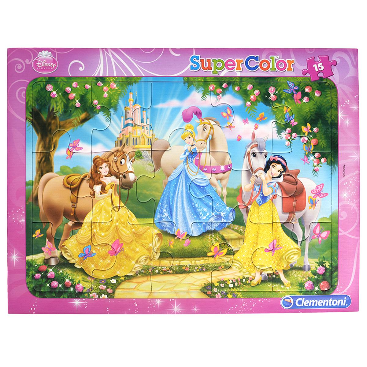 Clementoni Принцессы: сказочное очарование. Пазл, 15 элементов22220-V17886AПазл Принцессы: сказочное очарование, без сомнения, придется по душе вам и вашему малышу. Собрав этот пазл, включающий в себя 15 крупных элементов, вы получите великолепную картину с изображением знаменитых диснеевских принцесс - Бэлль, Золушки и Белоснежки. Каждая деталь имеет свою форму и подходит только на своё место. Нет двух одинаковых деталей! Пазл изготовлен из картона высочайшего качества. Все изображения аккуратно отсканированы и напечатаны на ламинированной бумаге. Пазл предназначен для детей в возрасте от 3 до 5 лет. Пазл - великолепная игра для семейного досуга. Сегодня собирание пазлов стало особенно популярным, главным образом, благодаря своей многообразной тематике, способной удовлетворить самый взыскательный вкус. А для детей это не только интересно, но и полезно. Собирание пазла развивает мелкую моторику у ребенка, тренирует наблюдательность, логическое мышление, знакомит с окружающим миром, с цветом и разнообразными формами.