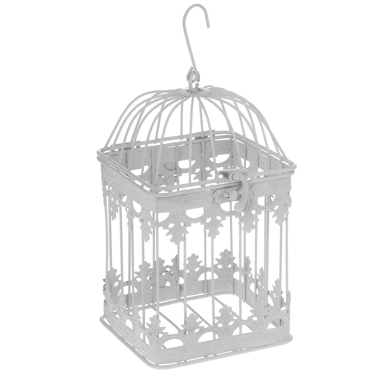 Клетка декоративная Ажурная, цвет: белый, 12 х 21 см36817Декоративная клетка Ажурная выполнена из высококачественного металла. Изделие украшено изящными коваными узорами. Клетка оснащена крышкой, которая закрывается на специальный замок. На крышке имеется крючок, за который клетку можно повесить в любое удобное место. Такая клетка подойдет для декора интерьера дома или офиса. Кроме того - это отличный вариант подарка для ваших близких и друзей. Диаметр клетки: 12 см. Высота клетки: 21 см.