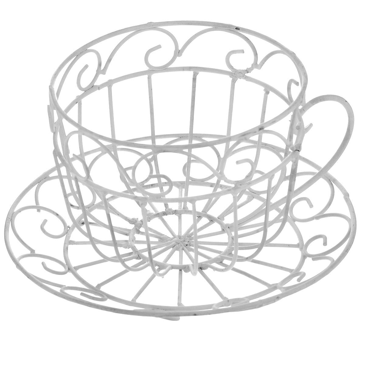 Кашпо Чайная чашка, цвет: белый, 20 х 11 см36799Кашпо Чайная чашка изготовлено из металла в виде чайной чашке. Кашпо - декоративная ваза для цветочных горшков. Фигурные кашпо для цветов служат объектом декора помещения. Дом, украшенный фигурными кашпо, приобретает свою оригинальность, свой характер. Неожиданные и оригинальные кашпо для цветов - это самый простой и доступный способ сделать дом, дачу или приусадебную территорию неповторимыми. Кашпо Чайная чашка - красивый и оригинальный сувенир для друзей и близких. Диаметр кашпо: 20 см. Высота кашпо: 11 см.