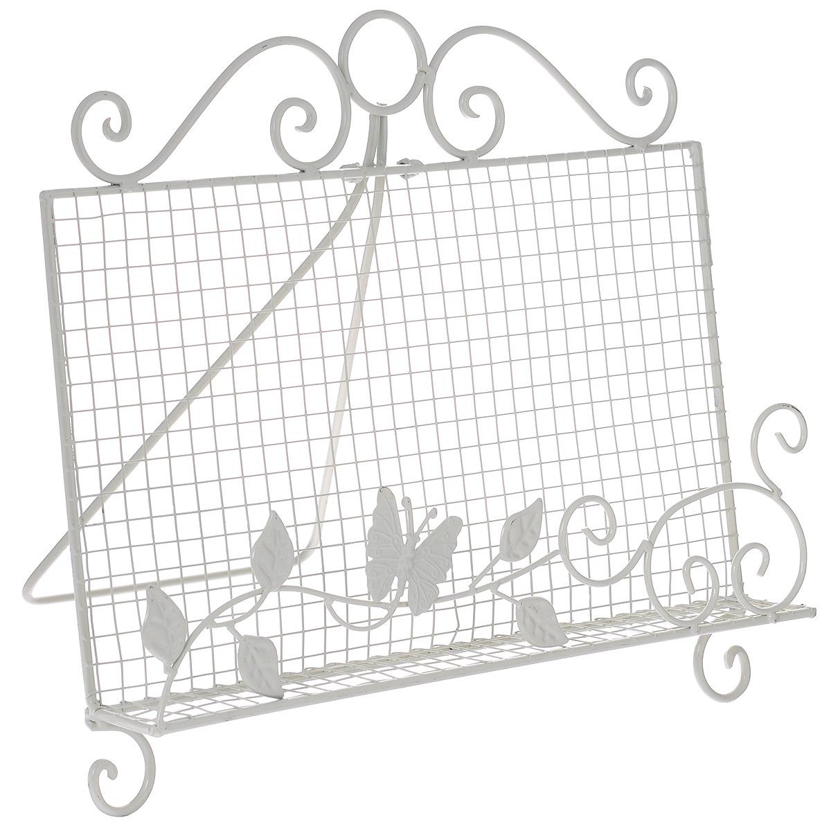 Подставка для книги Бабочка в листве, 40 х 5 х 34 см36805Удобная подставка Бабочка в листве предназначена для книг. Изделие выполнено из кованого металла в классическом стиле. Изделие украшено изящными завитками и узорами из металла. Подставка располагается на удобных ножках-завитках. Сзади имеется специальная ножка для устойчивого расположения на поверхности. Такая подставка поможет не только хранить газеты и журналы в одном месте и станет предметом декора. Размер подставки: 39 см х 31 см х 39 см.