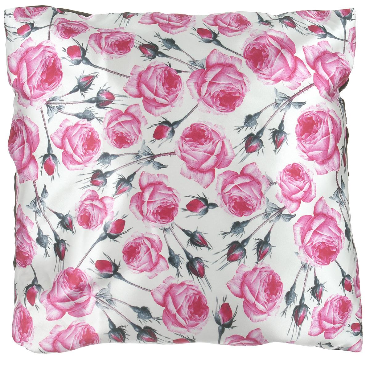 Подушка декоративная Розы, 40 см х 40 см58826розовыйДекоративная подушка Розы прекрасно дополнит интерьер комнаты. Чехол подушки выполнен из гладкого и приятного на ощупь сатина. Чехол на молнии, поэтому подушку легко стирать. Внутри - мягкий наполнитель. Лицевая сторона подушки украшена красочным цветочным рисунком, задняя сторона - насыщенного шоколадного цвета. Стильная и яркая подушка эффектно украсит интерьер и добавит в привычную обстановку изысканность и роскошь.
