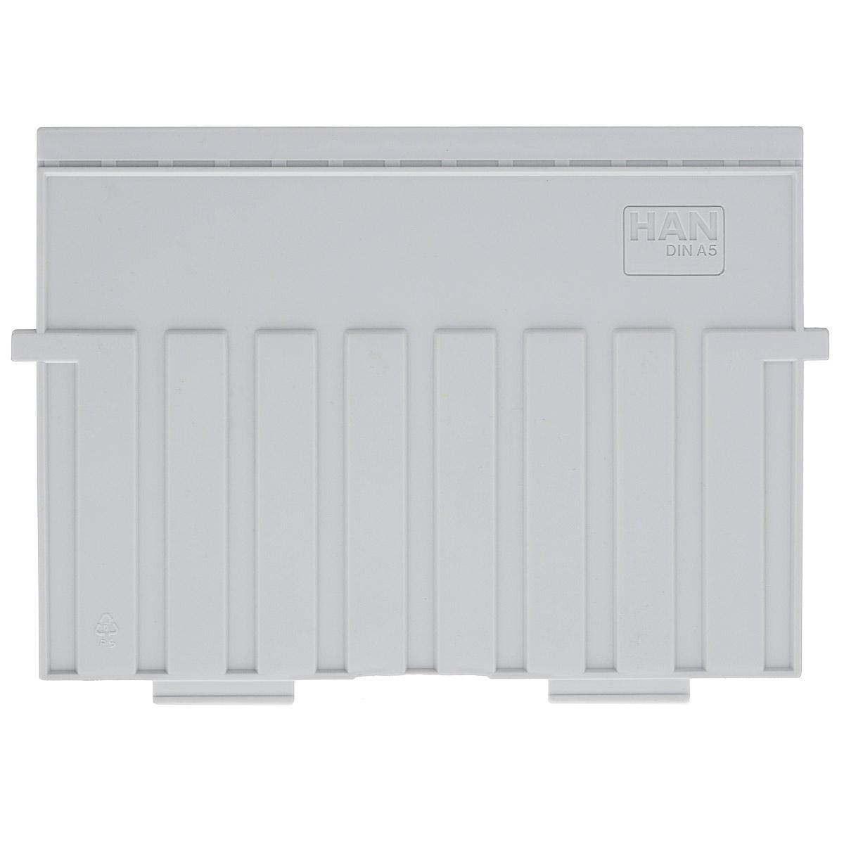 Разделитель для горизонтальной картотеки Han, цвет: серый. Формат А5HA9025/11Разделитель для картотеки Han изготовлен из пластика серого цвета. Предназначен для горизонтальных картотек HAN. Имеется специальное поле для установки индексного окна (сверху).